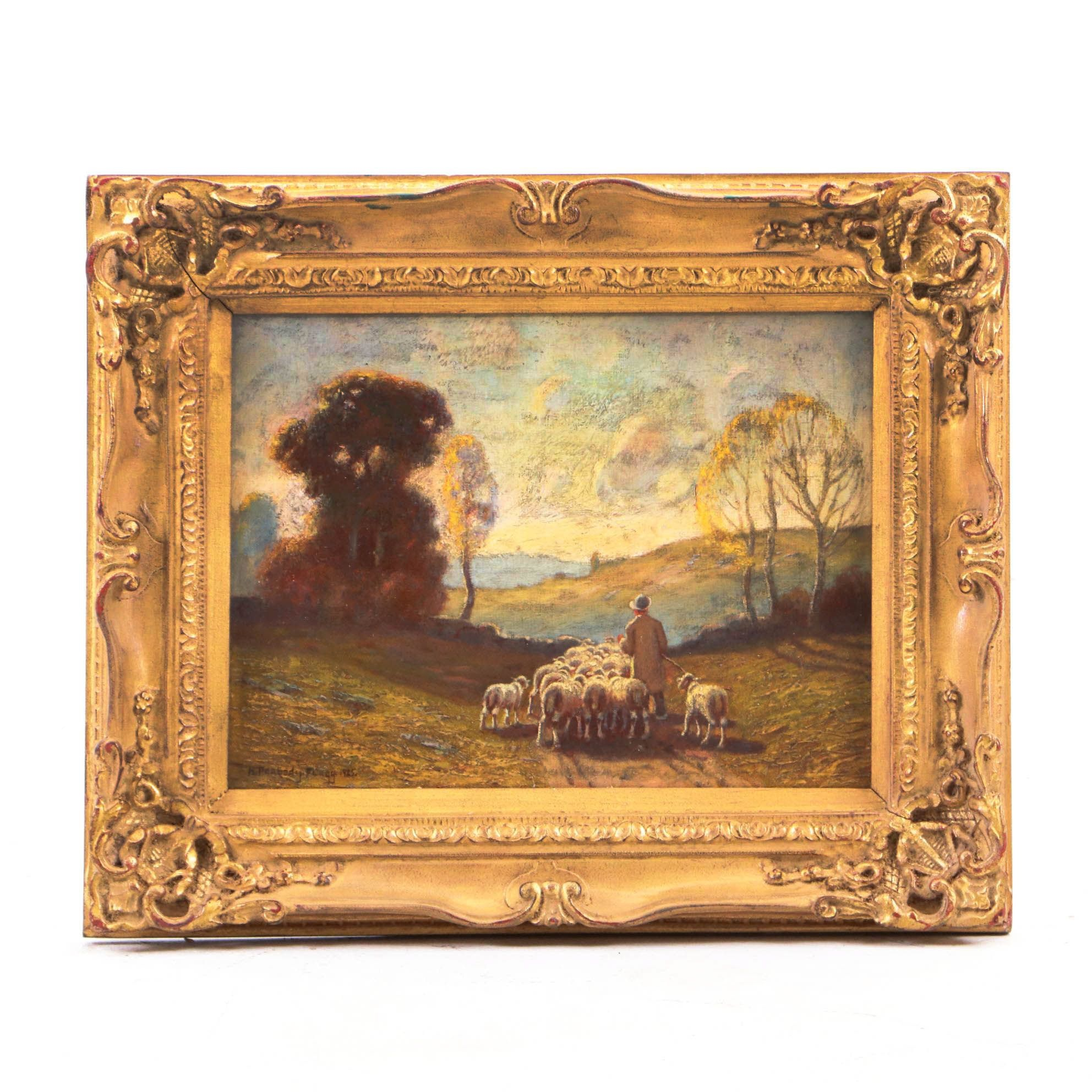 Hiram Peabody Flagg Landscape Oil Painting with Shepherd and Sheep