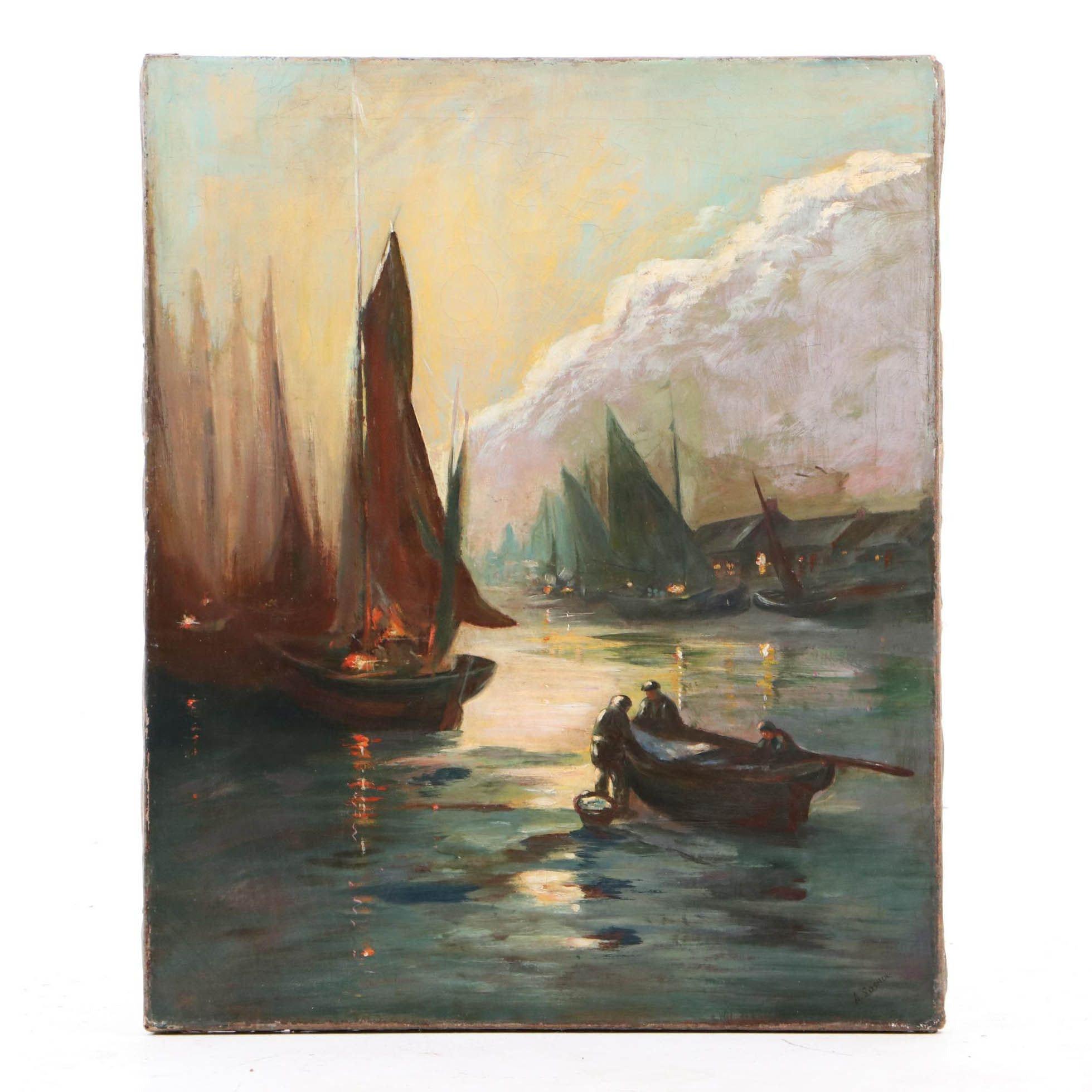 A. Sosnou Oil Painting of Harbor Scene