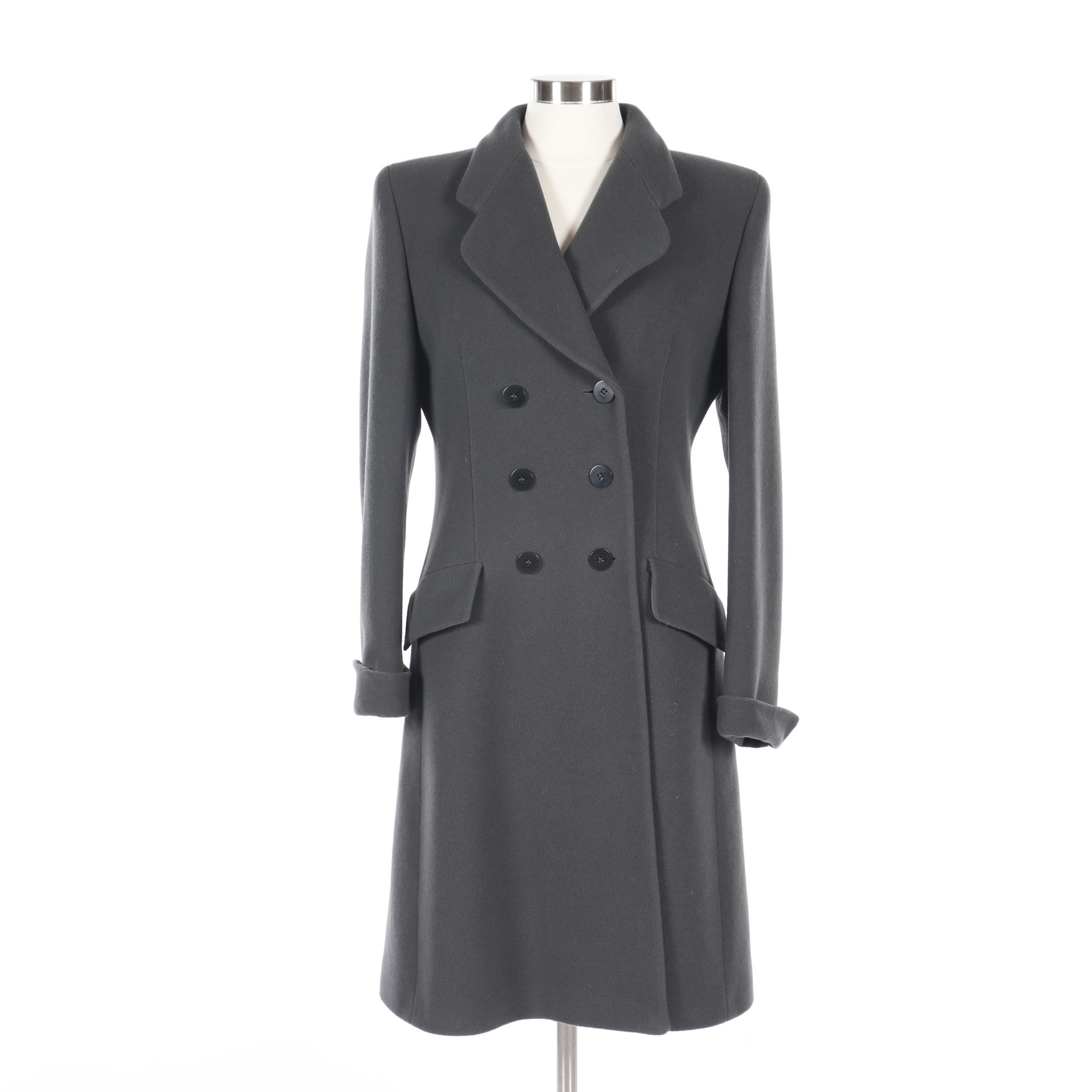 Giorgio Armani Le Collezioni Double-Breasted Grey Wool Blend Princess Coat