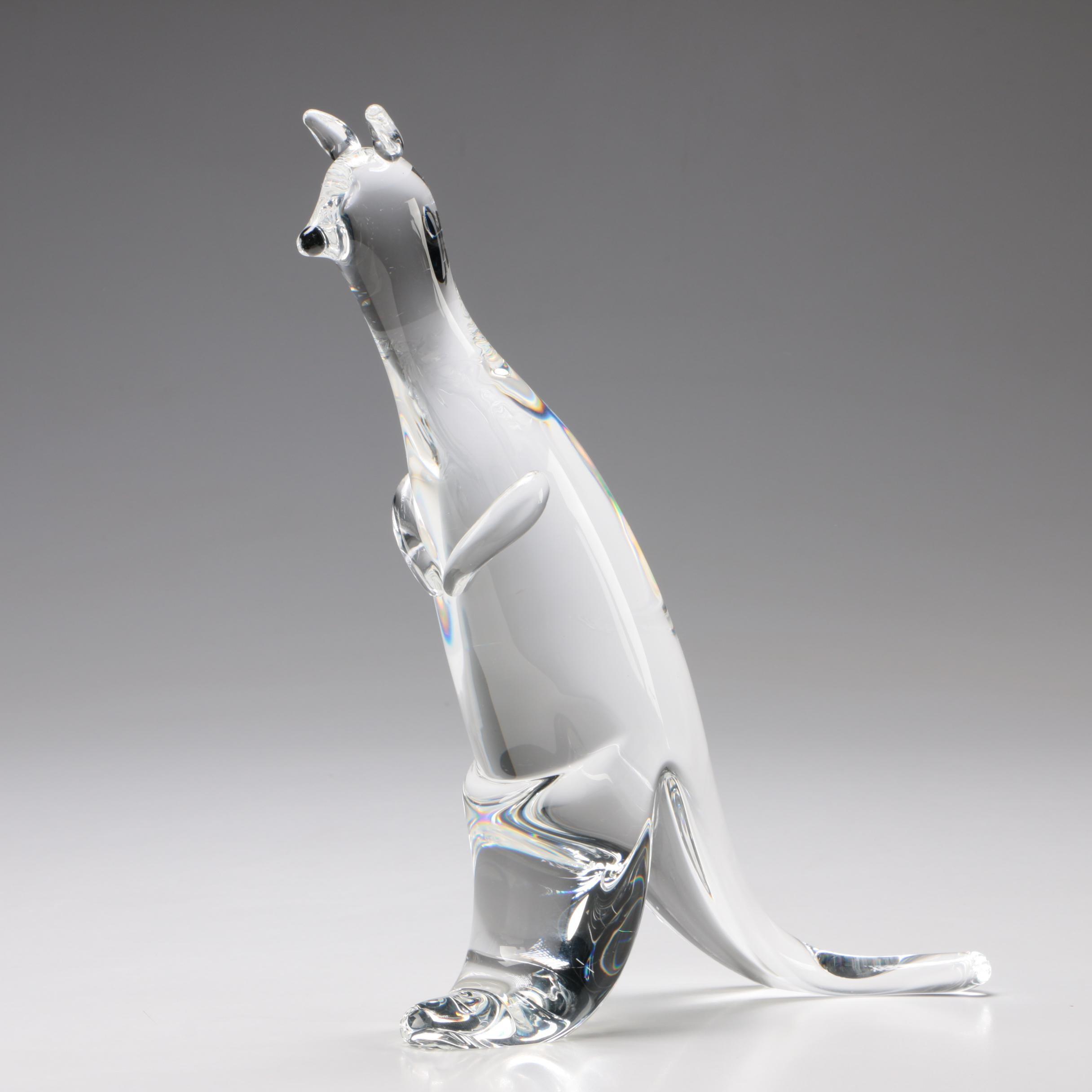 Steuben Art Glass Kangaroo Figurine, 1999