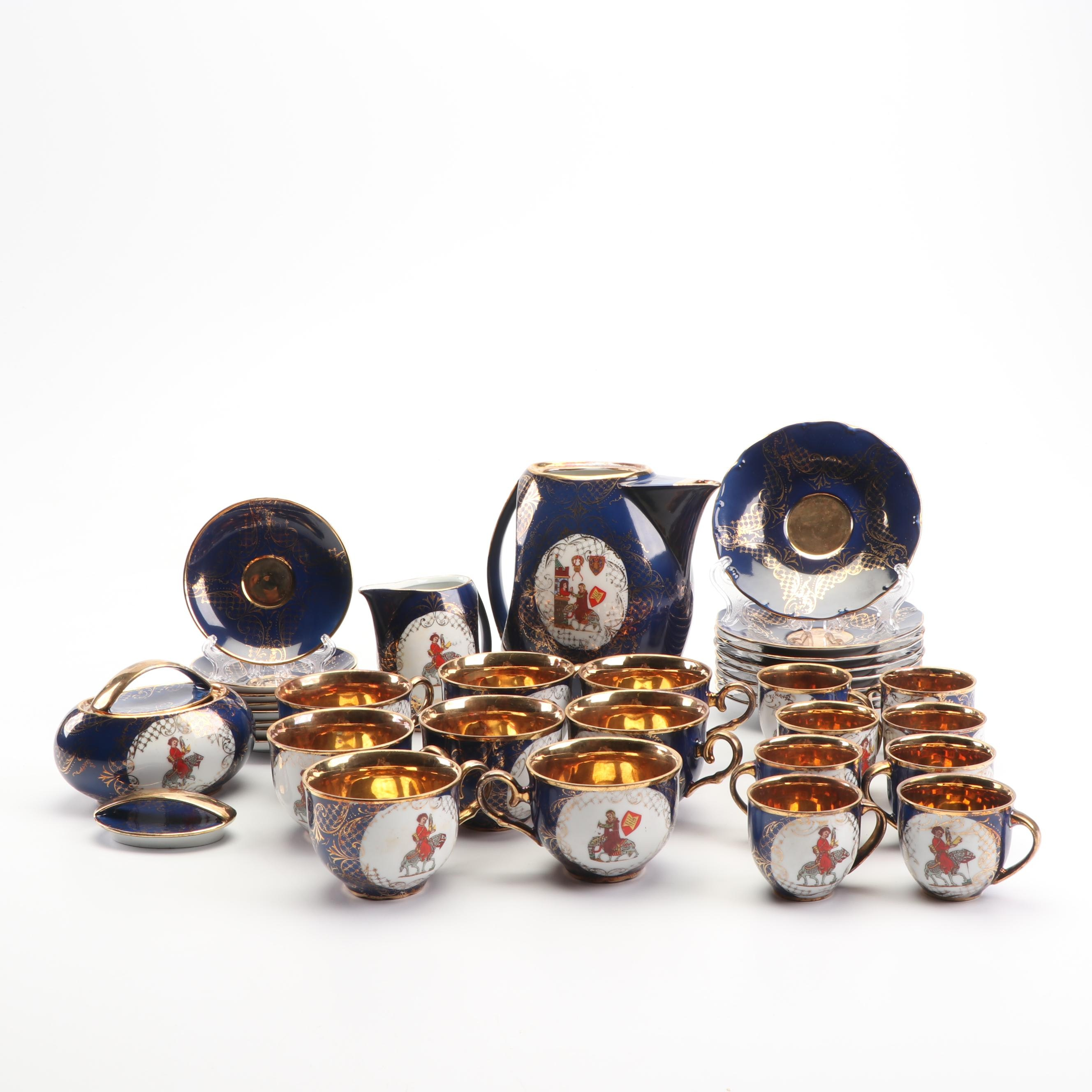 Limoges Cobalt and Gilt Porcelain Tea Service