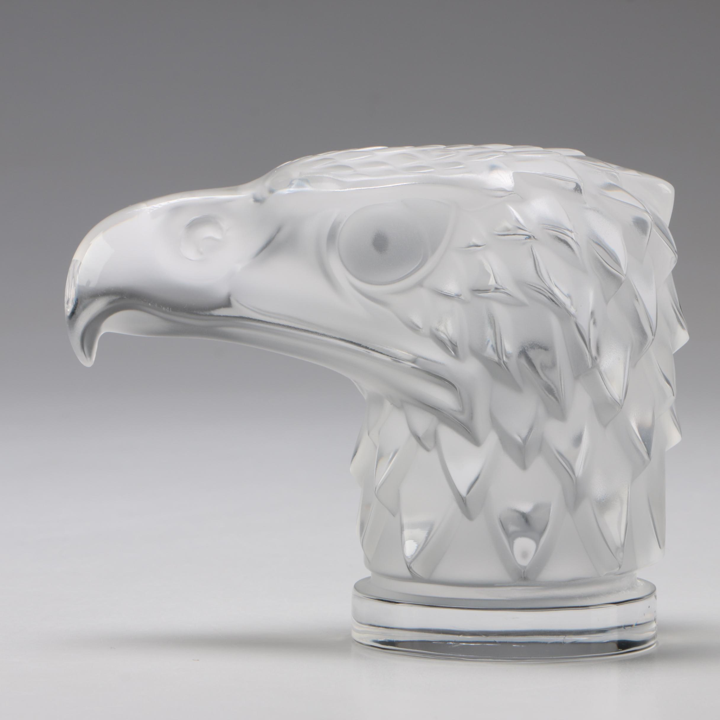 """Lalique """"Tete d'Aigle"""" Car Mascot Crystal Paperweight, Mid-Century"""