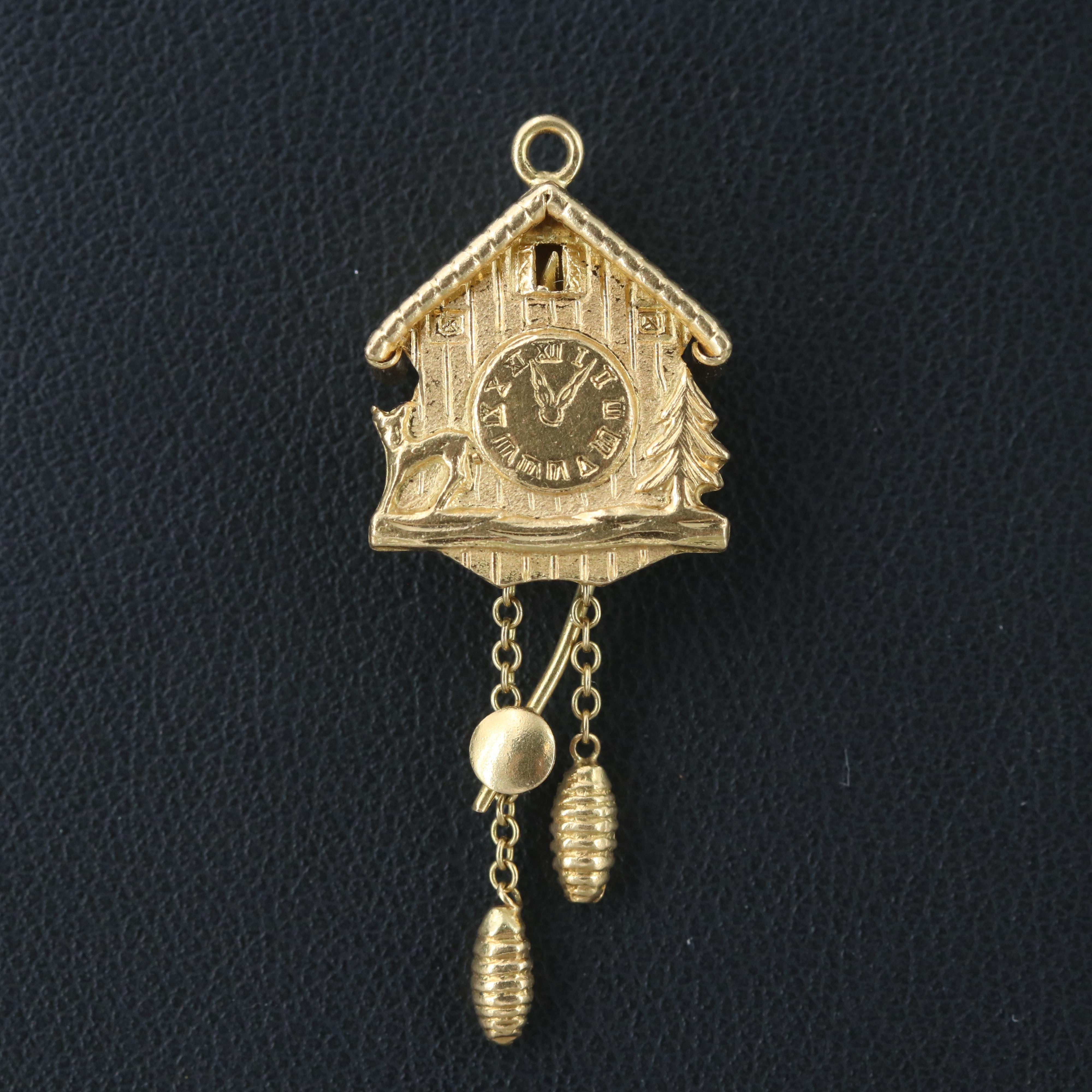 Vintage 18K Yellow Gold Cuckoo Clock Charm