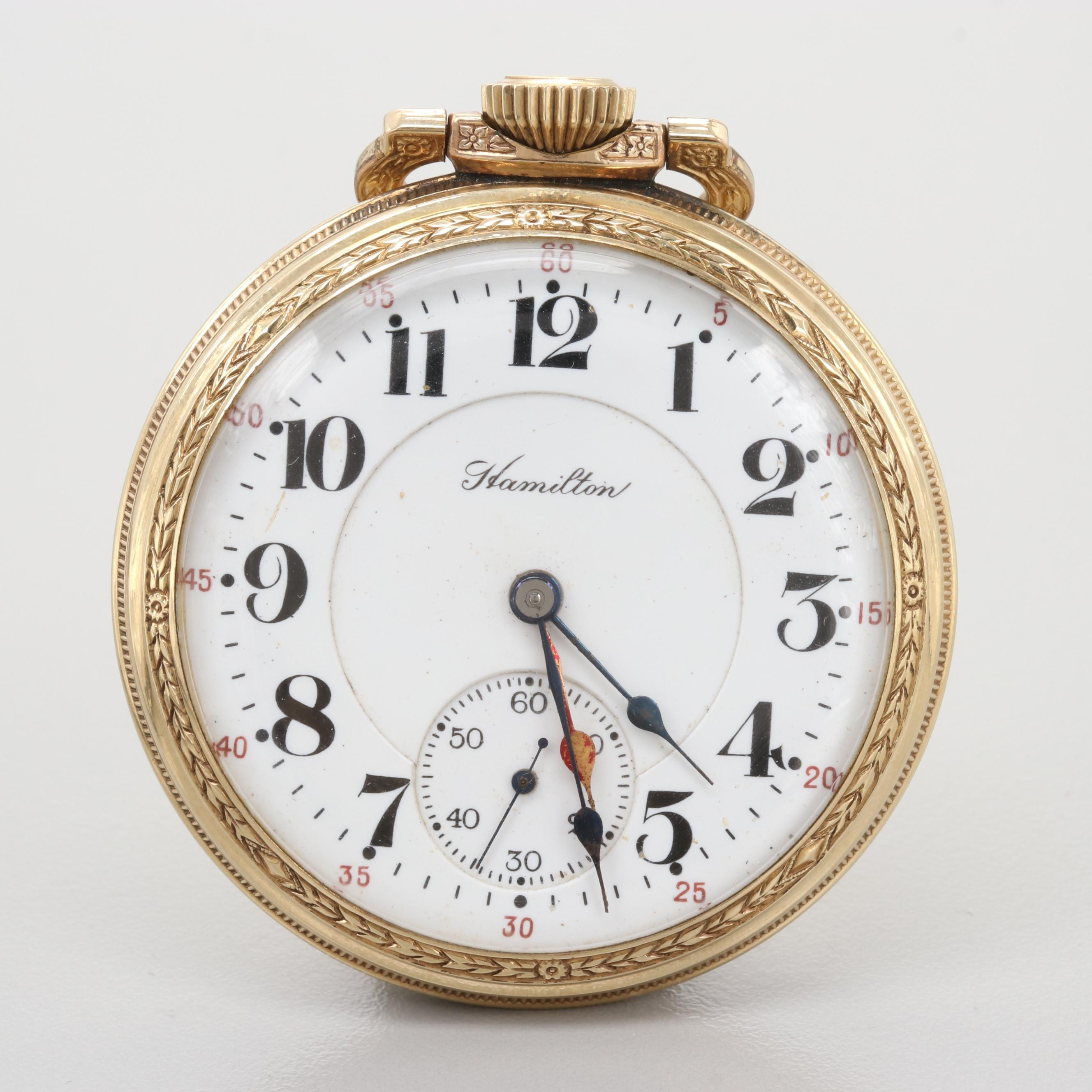 Hamilton Railroad Grade Dual Time 10K Rolled Gold Plated  Pocket Watch,1916