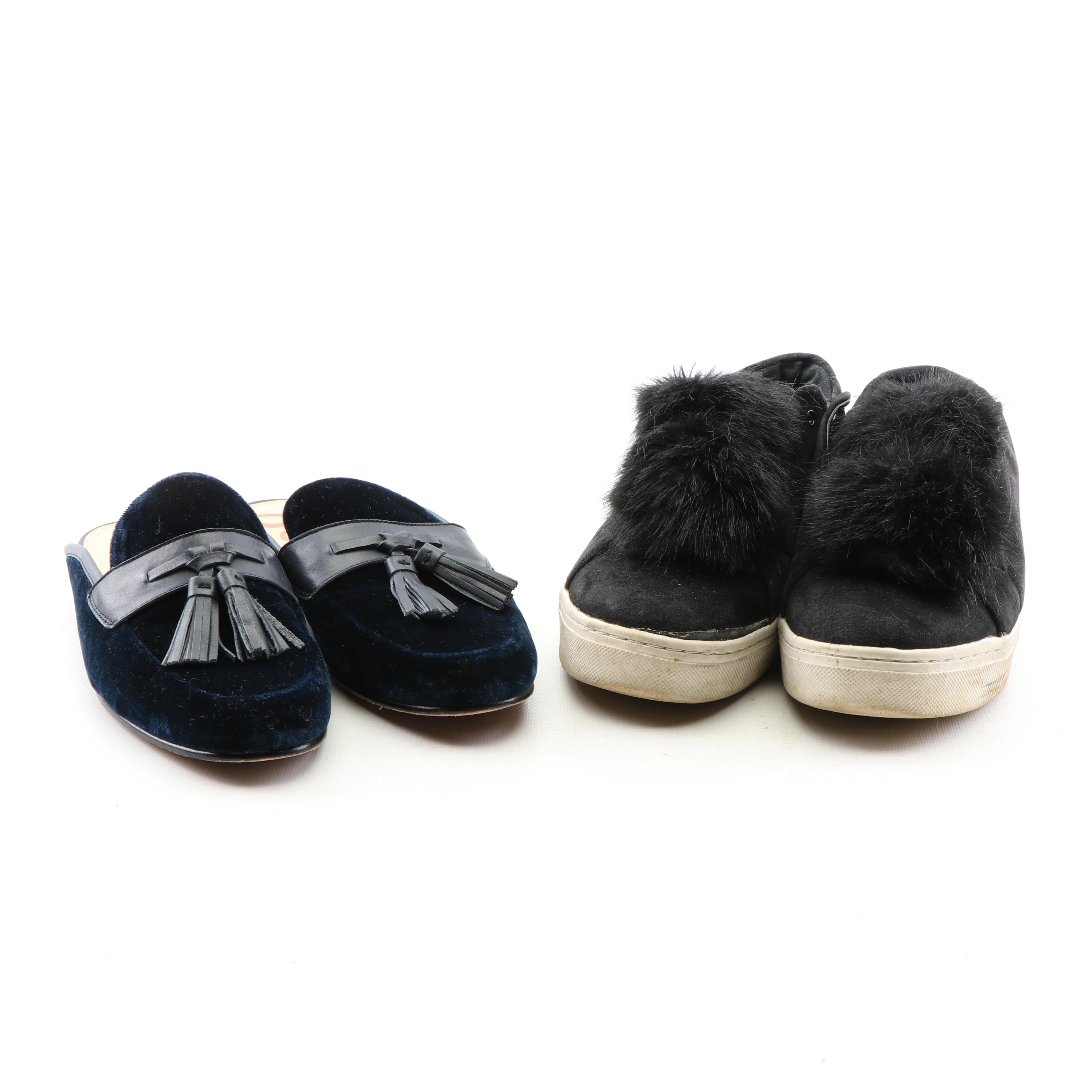 Sam Edelman Blue Velvet Loafer Mules and Black Suede Sneakers with Faux Fur