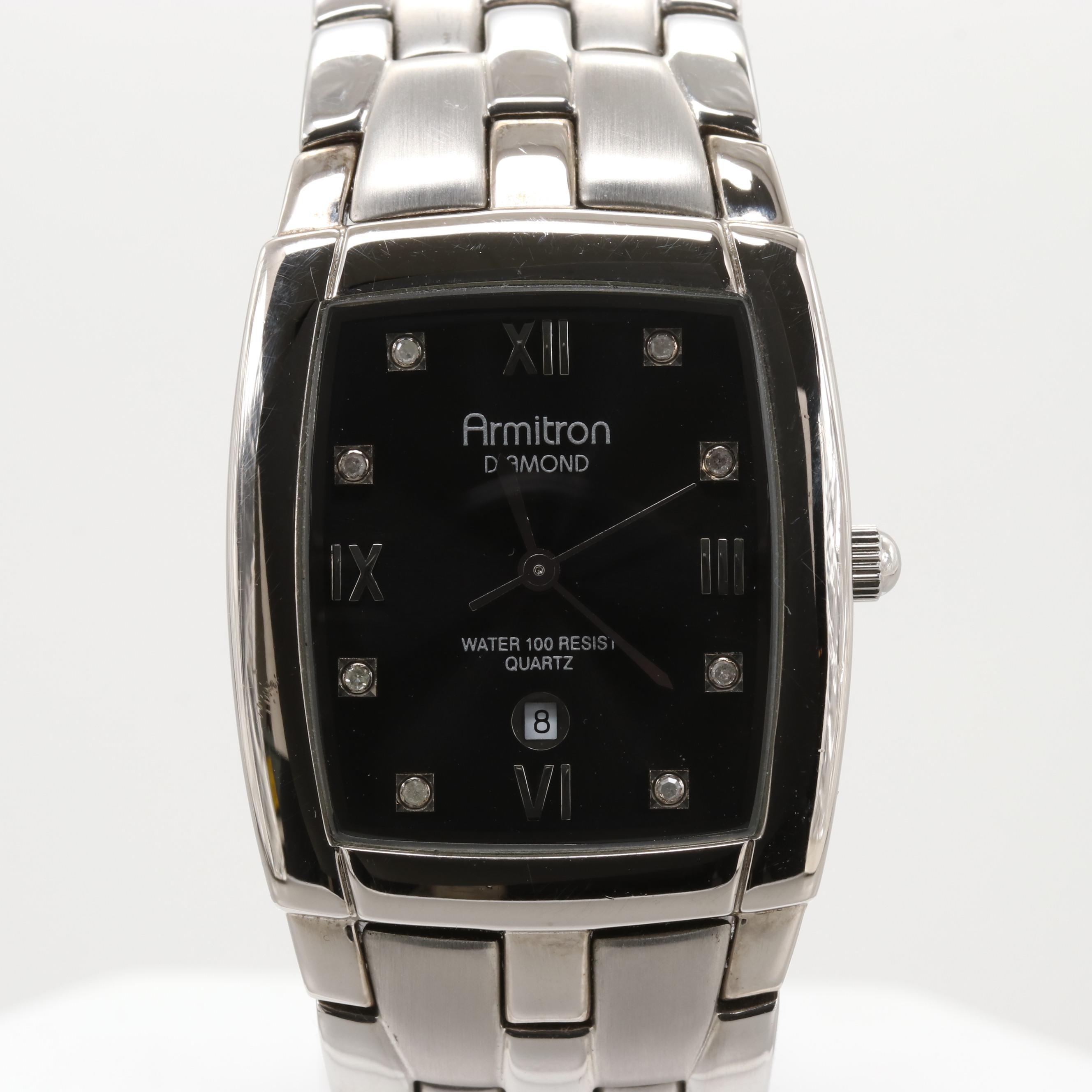 Armitron Stainless Steel Quartz Wristwatch With Diamond Dial