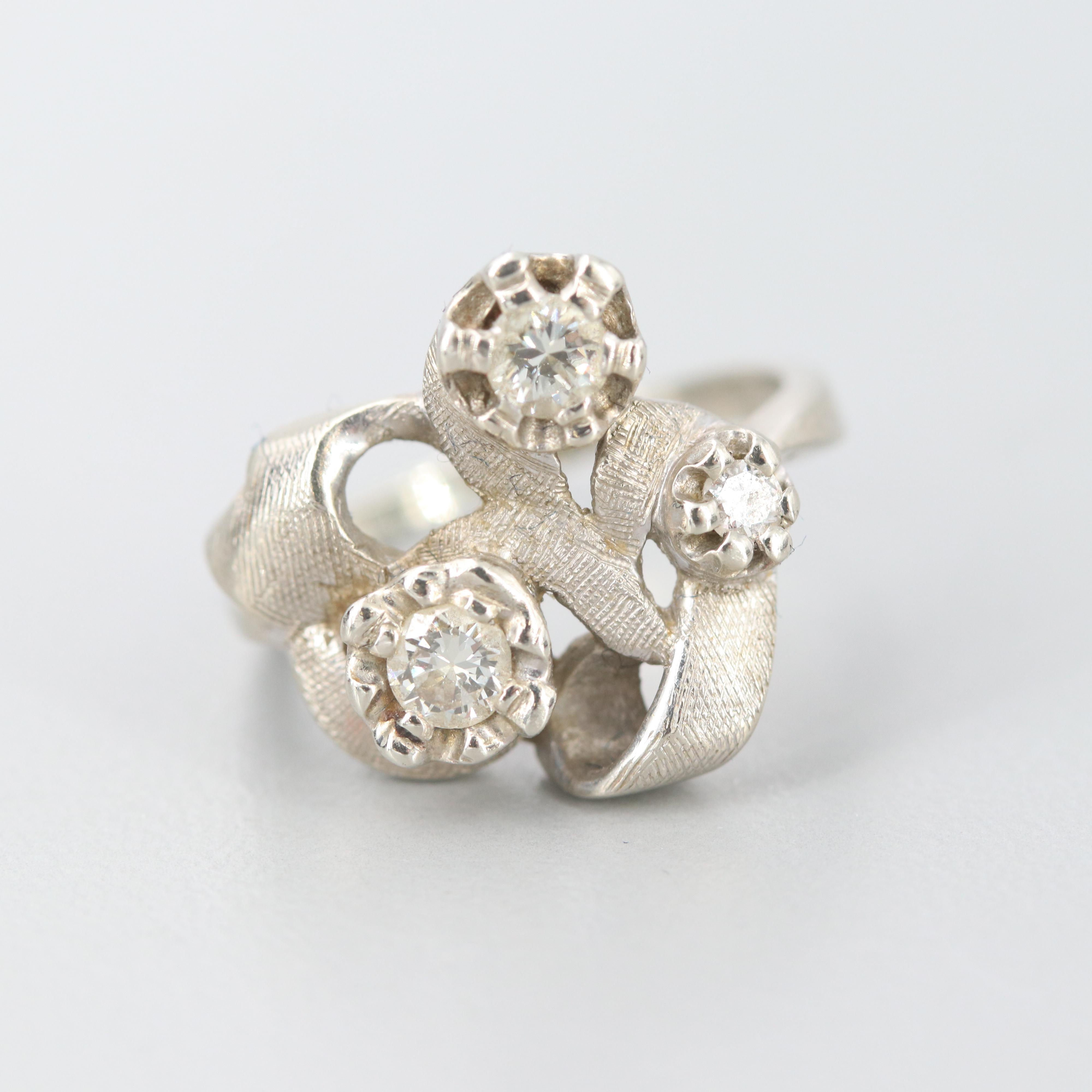Circa 1950s 14K White Gold Diamond Ring with Florentine Texture