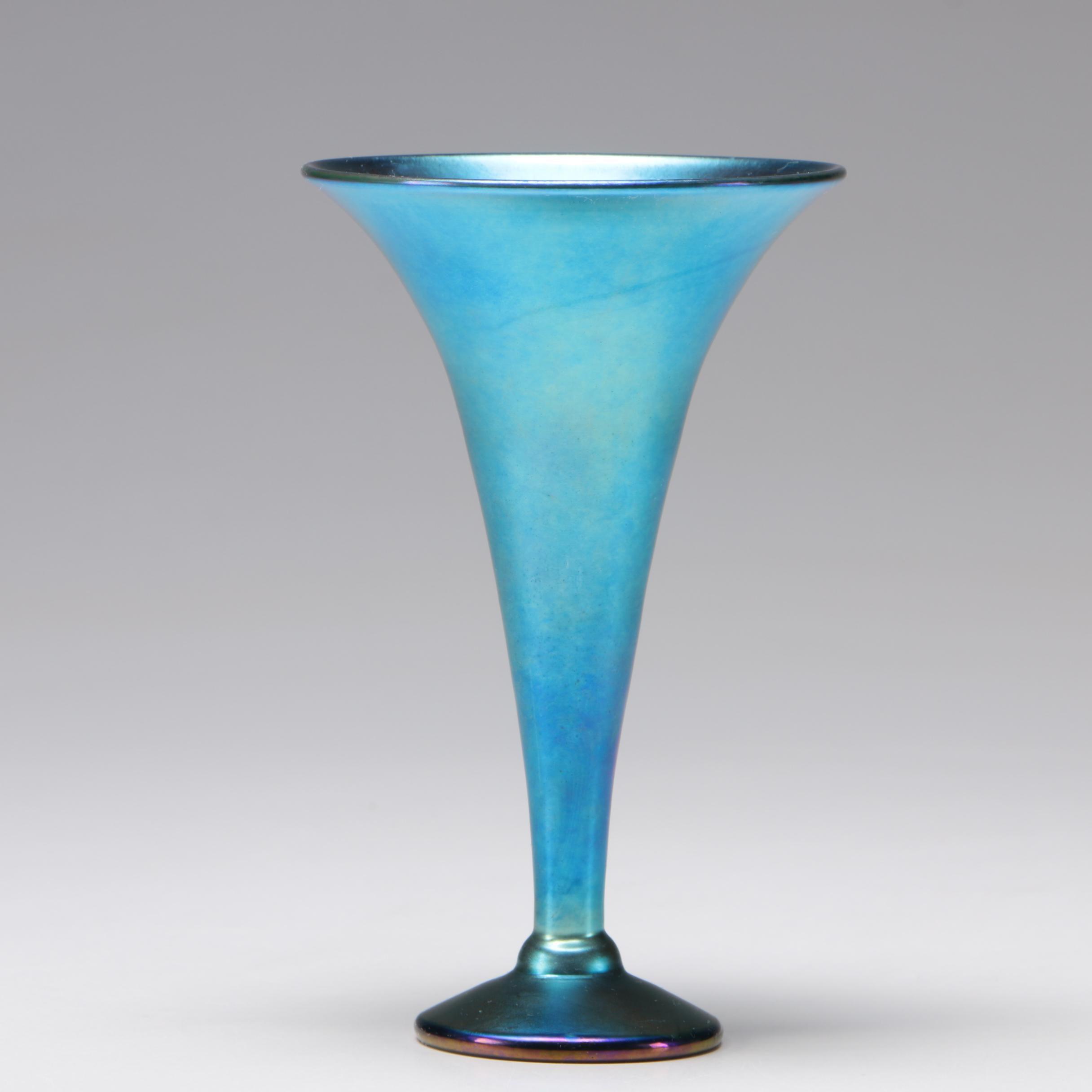 Steven Lundberg Blue Iridescent Art Glass Vase, 1999