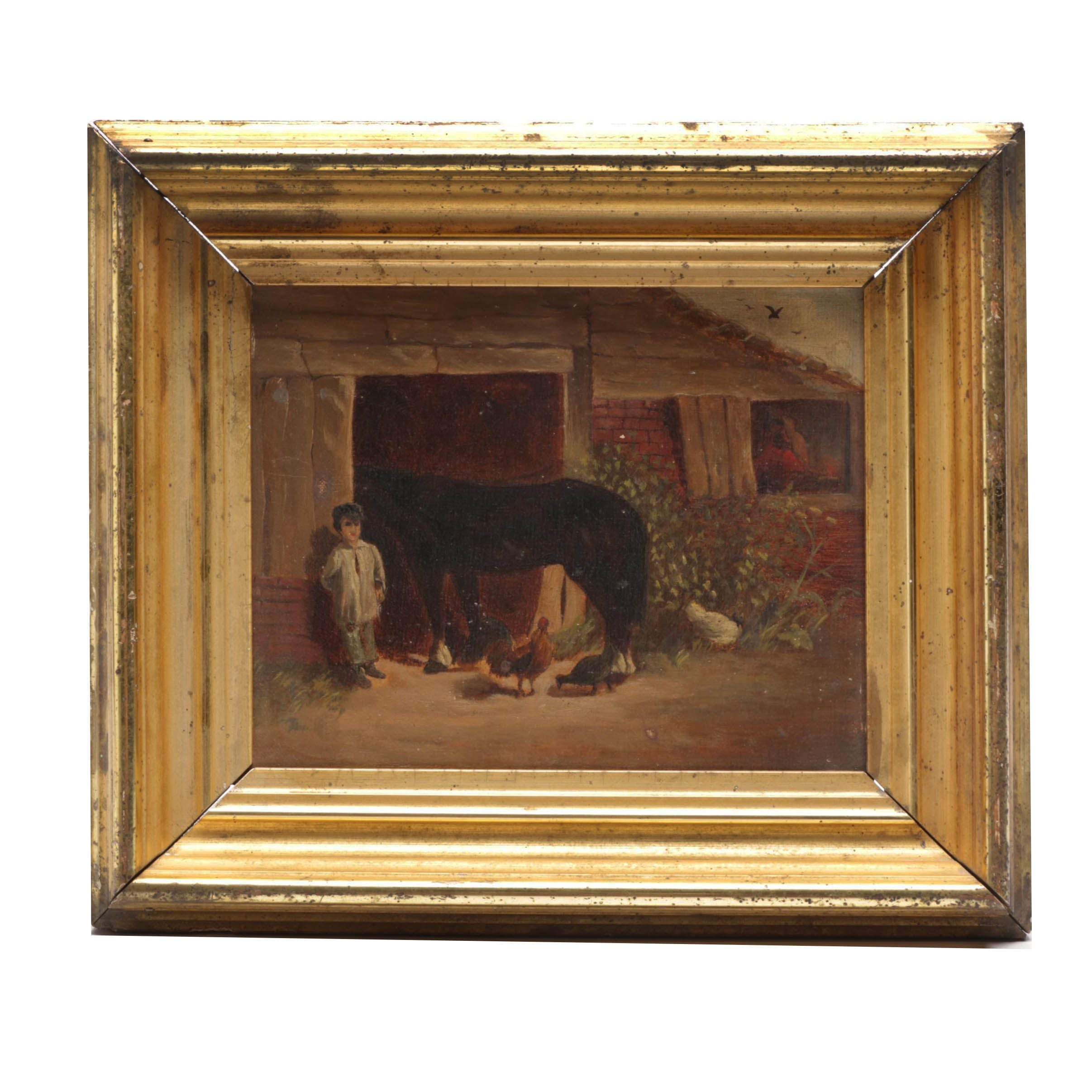 Late 19th-Century Farm Genre Oil Painting