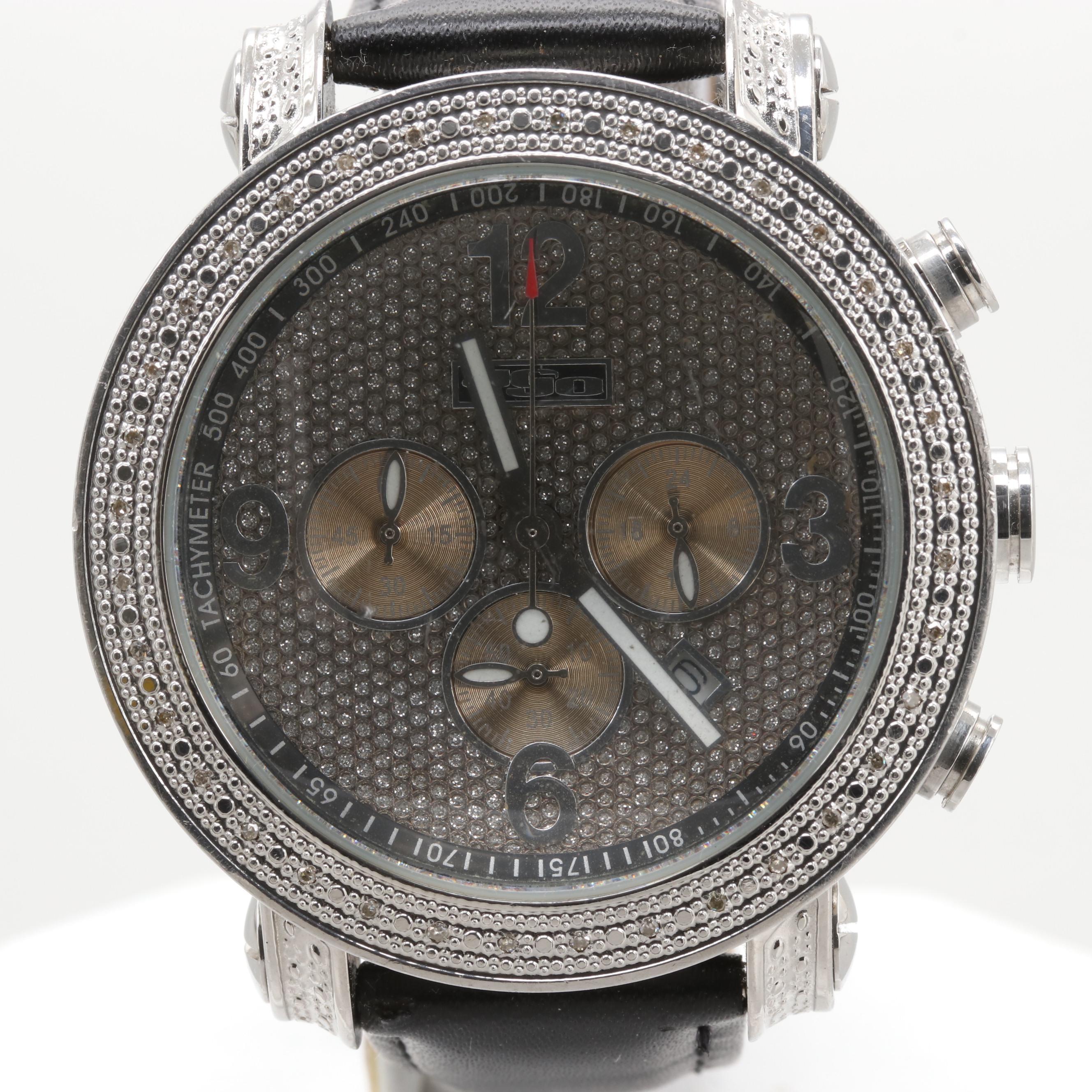 JoJo Stainless Steel and Diamond Chronograph Wristwatch with Date Window