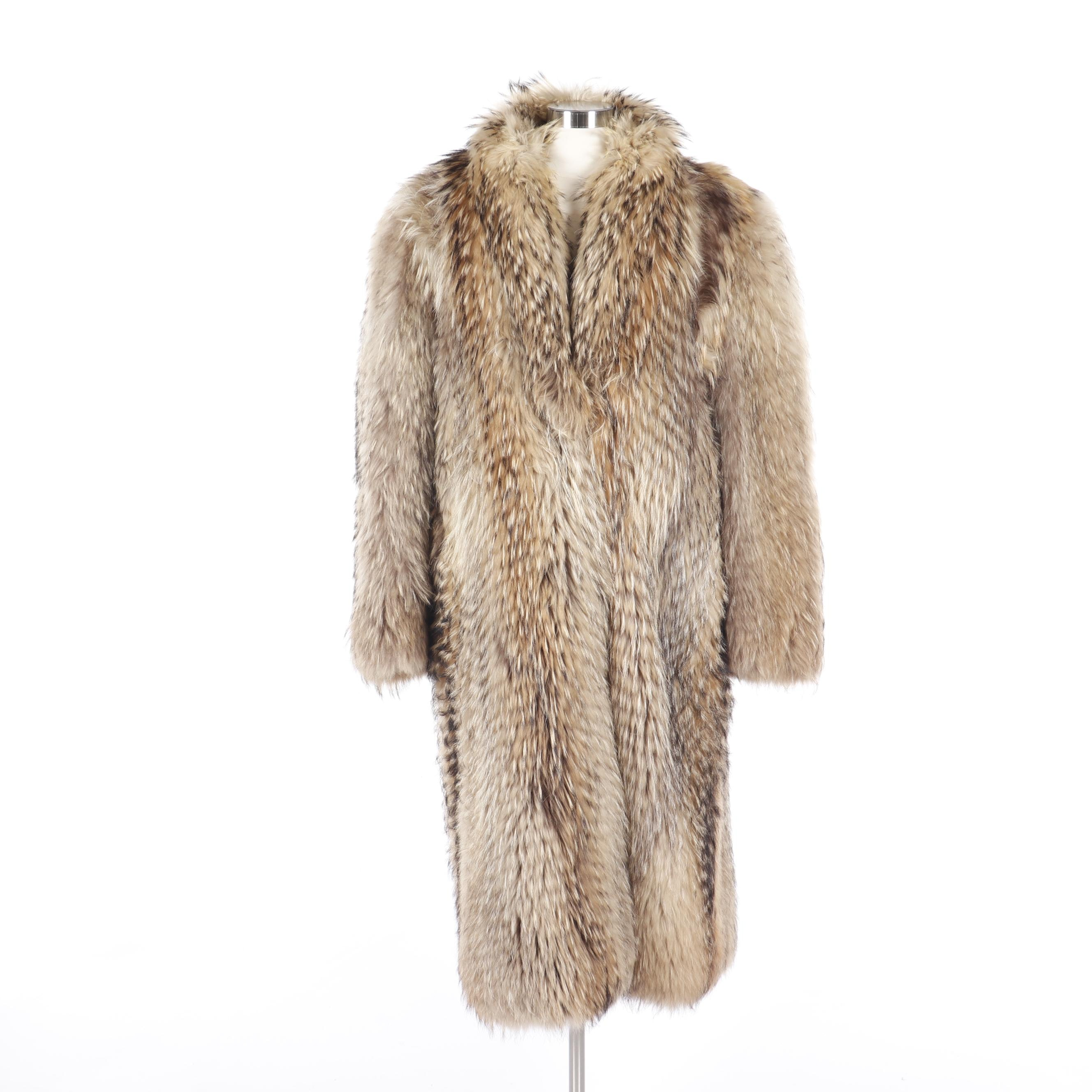 Mid-Century Buntmageri Adsbol Finnish Raccoon Fur Coat, Made In Denmark