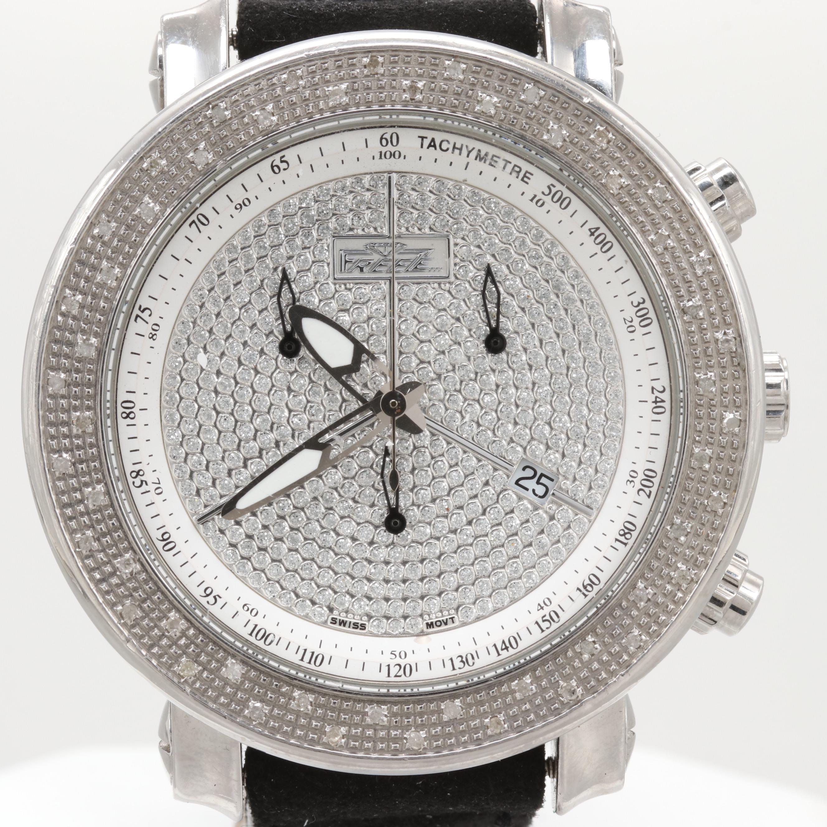 Freeze Diamond Chronograph Wristwatch With Date Window