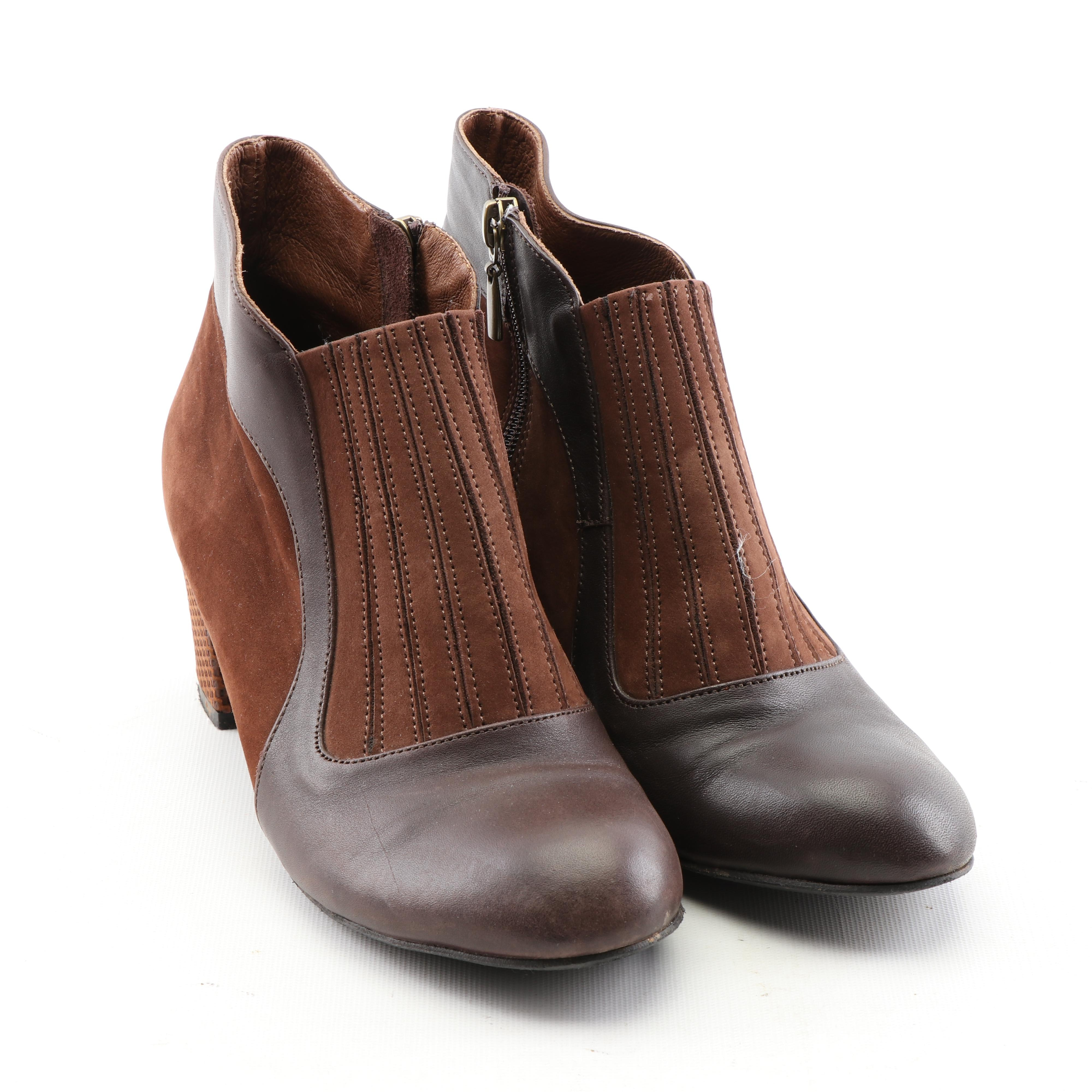 Women's Daniella Lehavi Brown Leather and Suede Ankle Booties