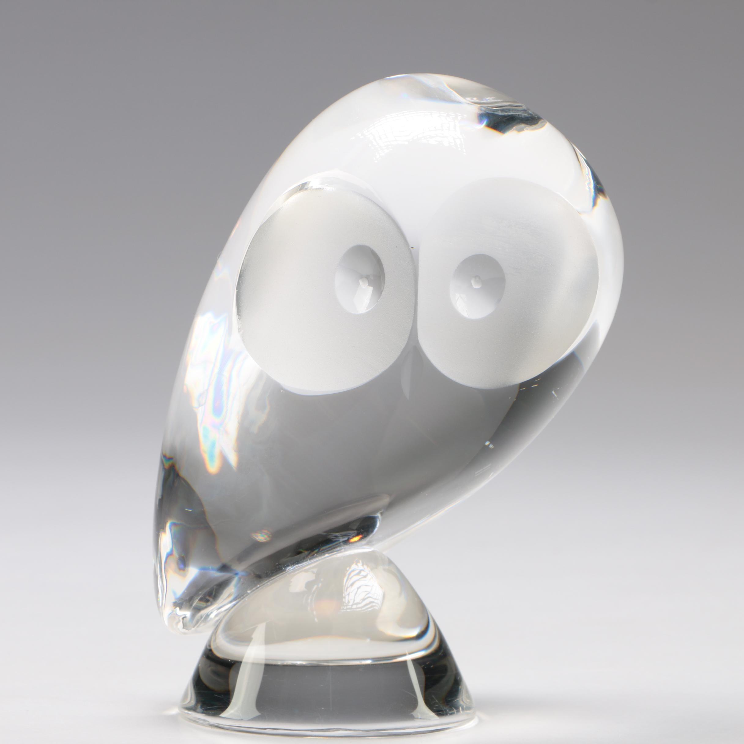"""Steuben Art Glass """"Owl"""" Figurine by Donald Pollard"""