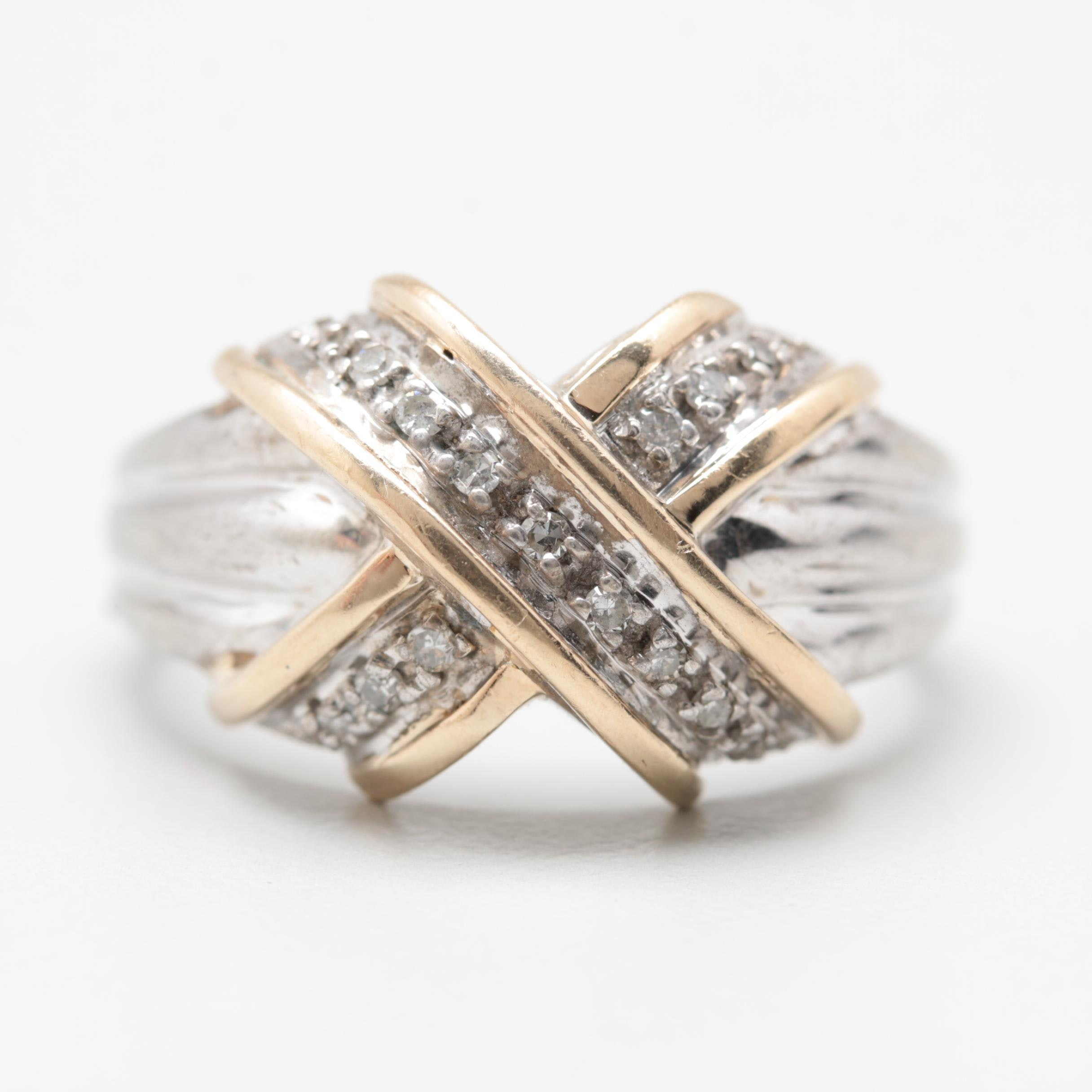 Sterling Silver Diamond Ring with 14K Yellow Gold Accents