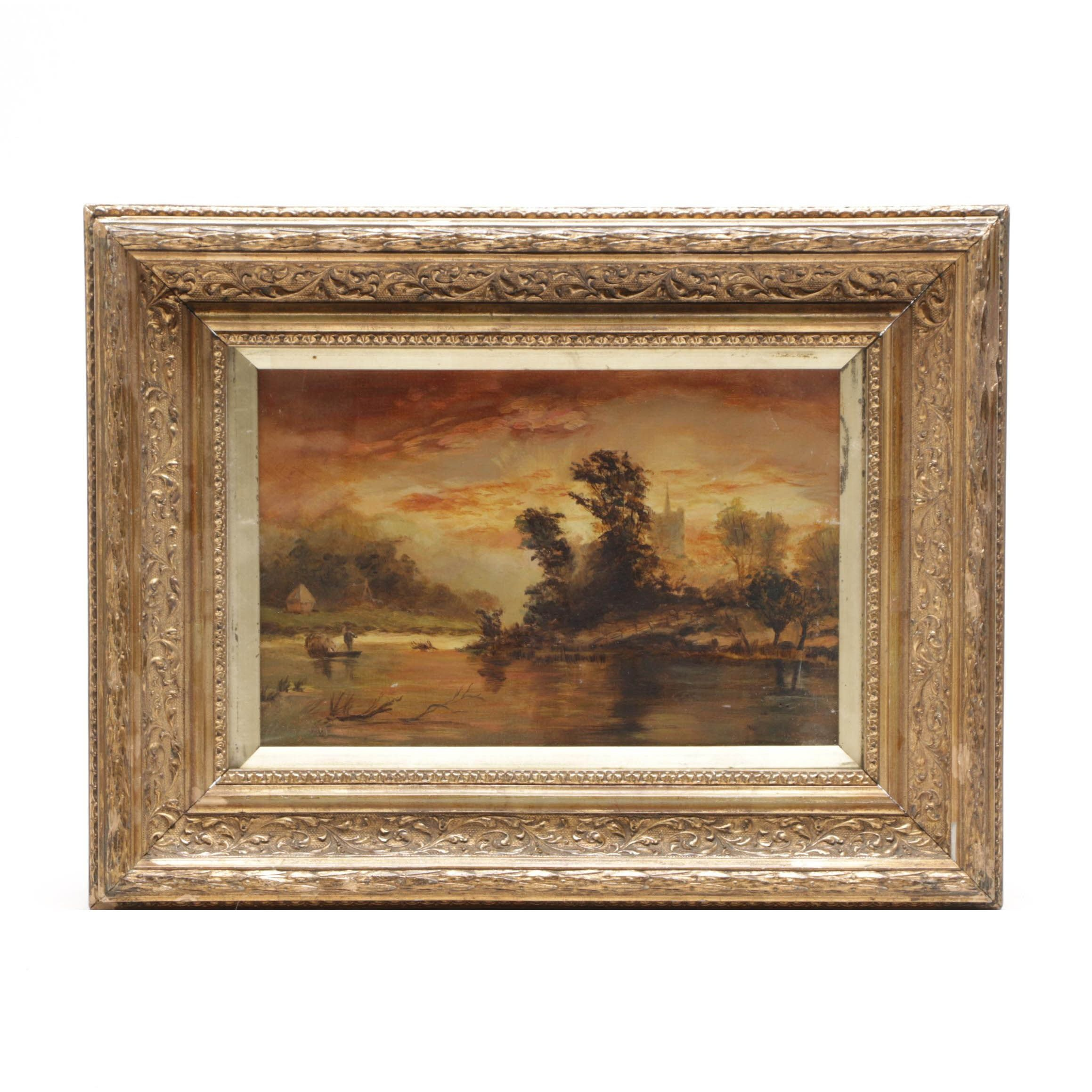Antique Romantic Landscape Oil Painting