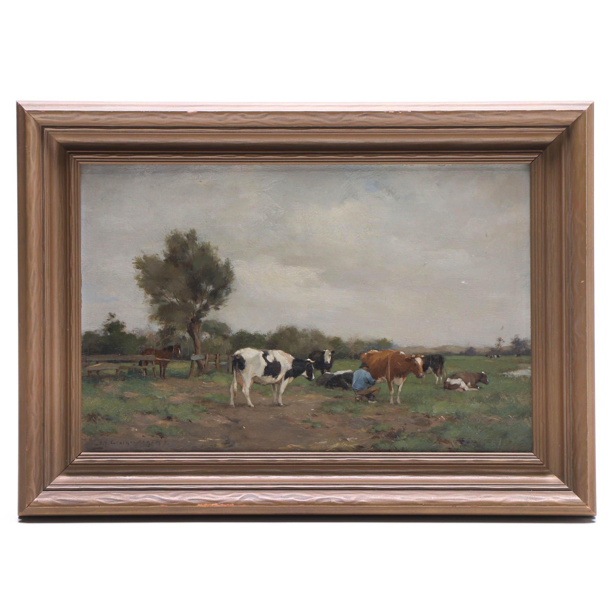 Adrianus Johannes Groenewegen Bucolic Landscape Oil Painting