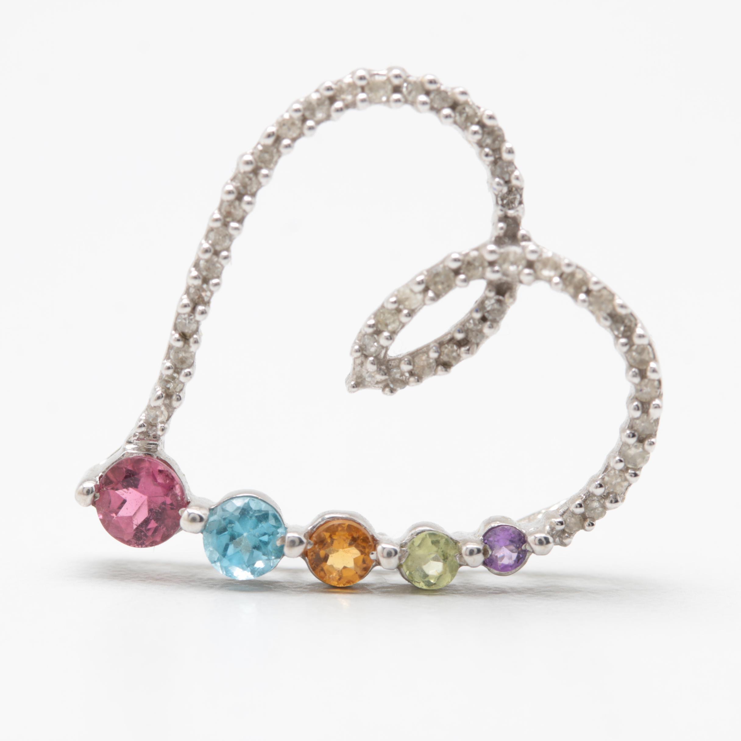 10K White Gold Diamond, Peridot, Citrine, Blue Topaz and Garnet Heart Pendant