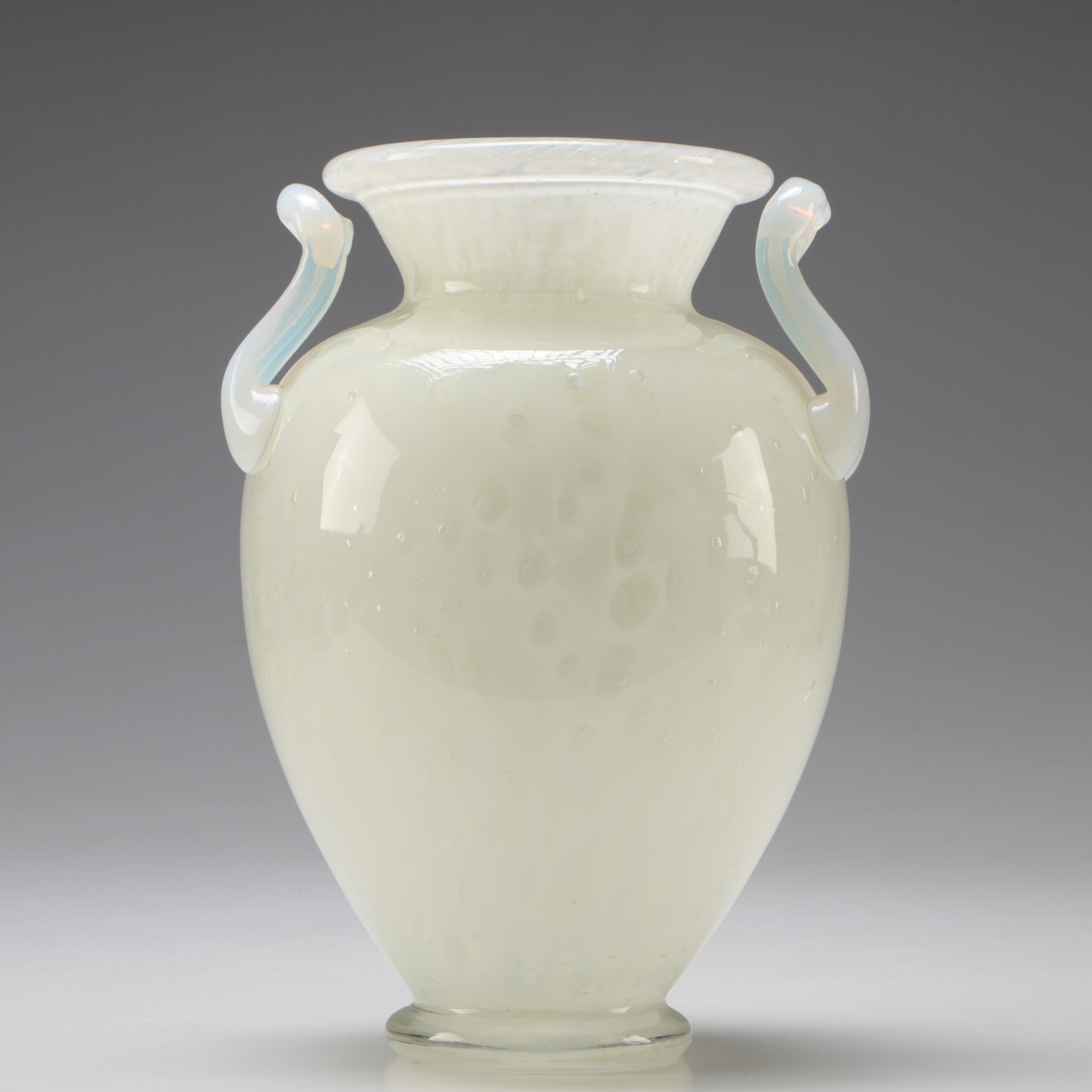 Steuben Art Glass French Opalescent White Cluthra Vase by Paul V. Gardner, 1930s