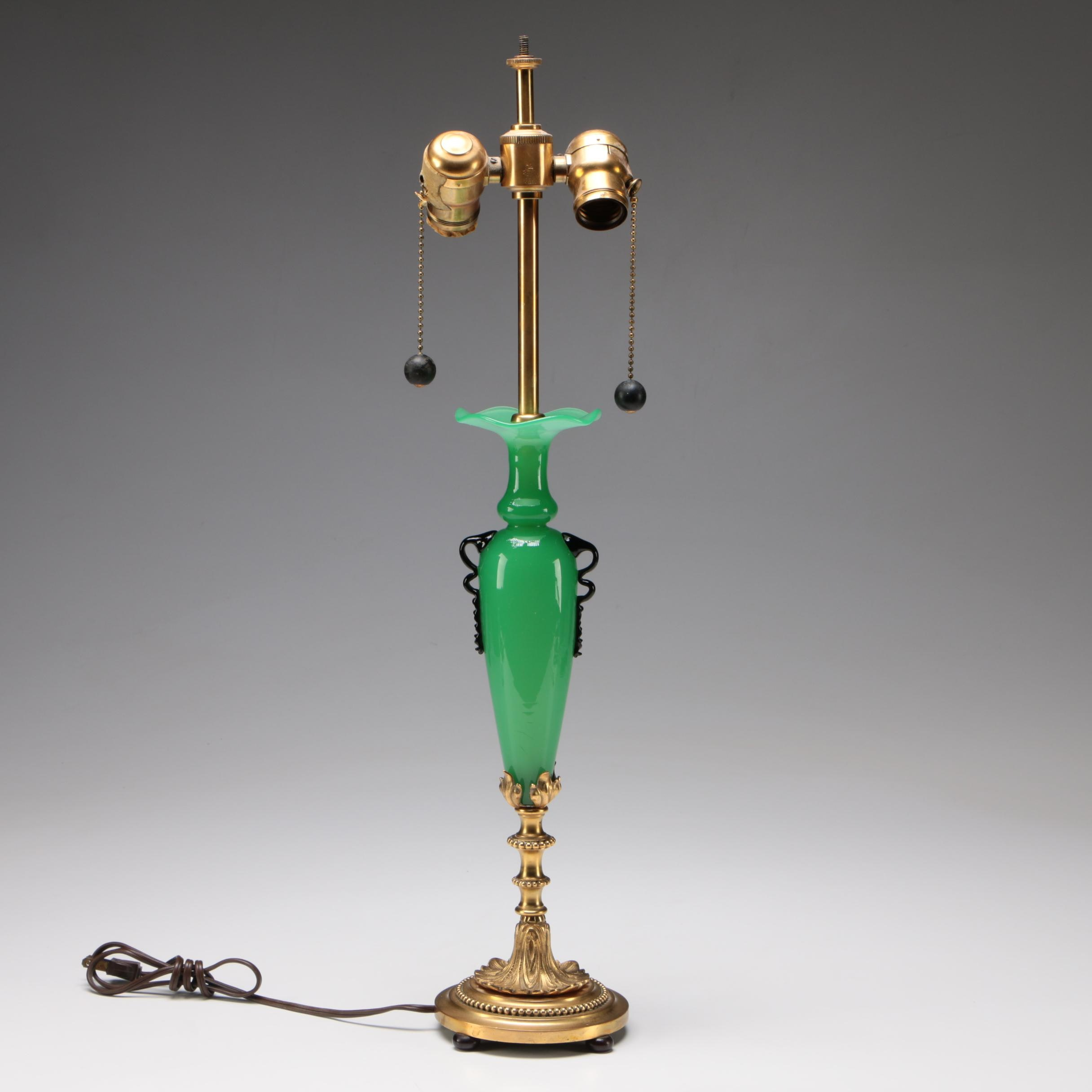Steuben Green Jade Art Glass and Brass Table Lamp, Early 20th Century