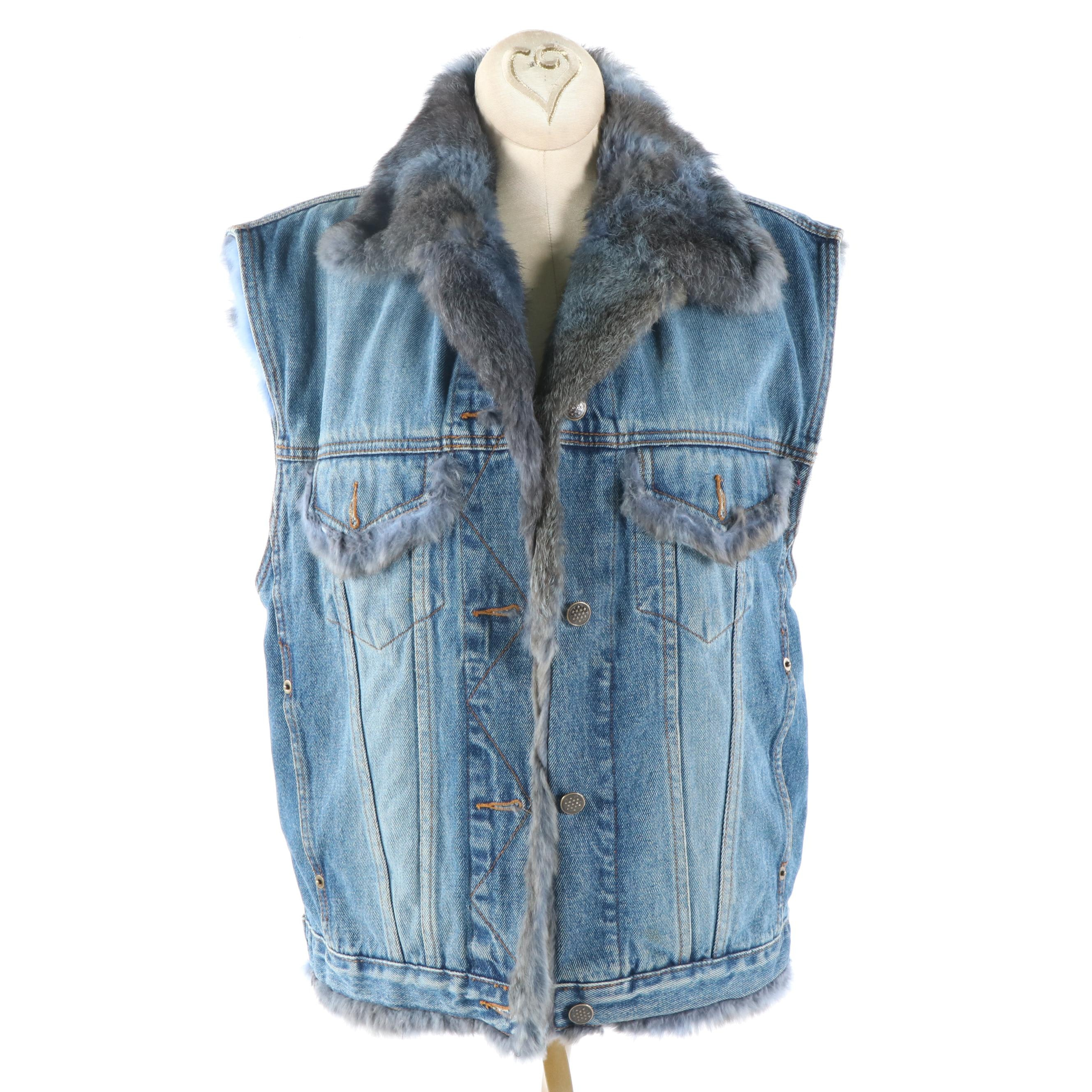 Women's Denim Vest with Dyed Rabbit Fur Lining
