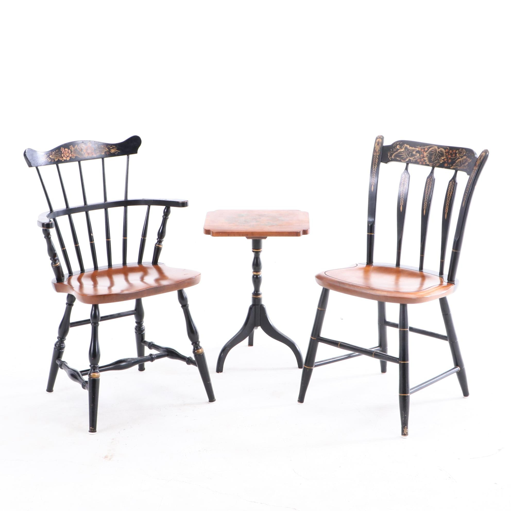 Contemporary Hitchcock Gilt Stenciled Occasional Table and Chairs