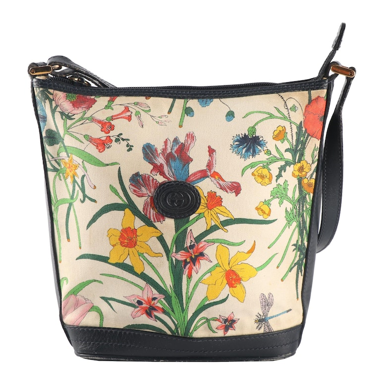 a71114bd93b 1980s Gucci Garden Flora Canvas and Navy Leather Bucket Bag