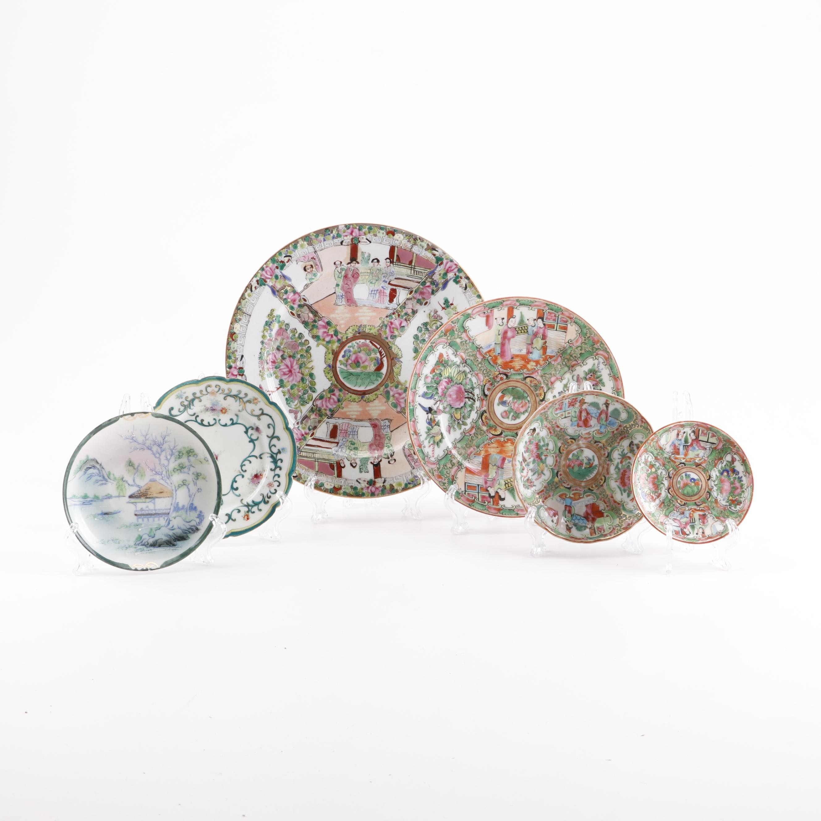 "Vintage Chinese and Japanese Porcelain Plates including ""Rose Medallion"""