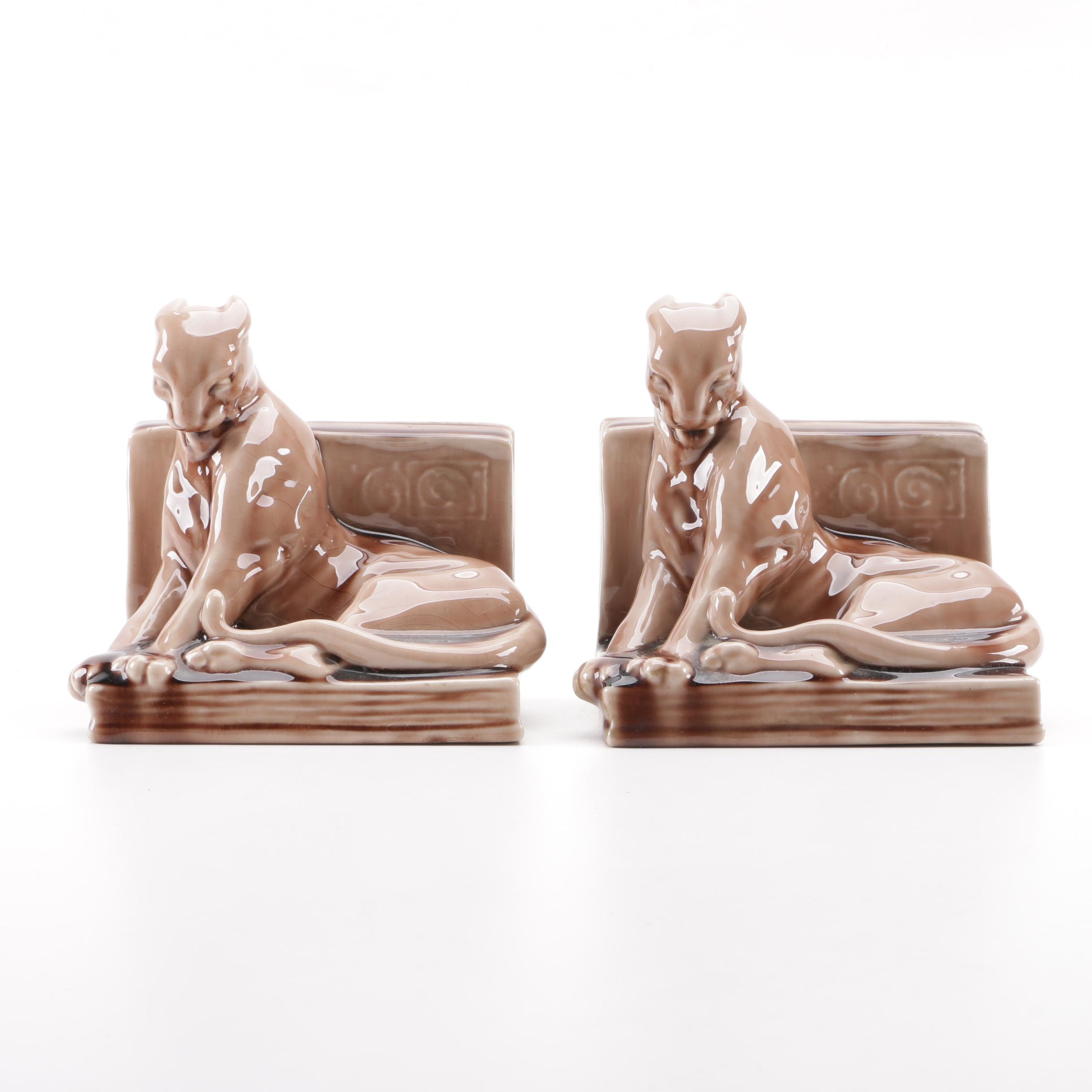 "Rookwood Pottery ""Panther"" Bookends Designed by William McDonald, 1949"