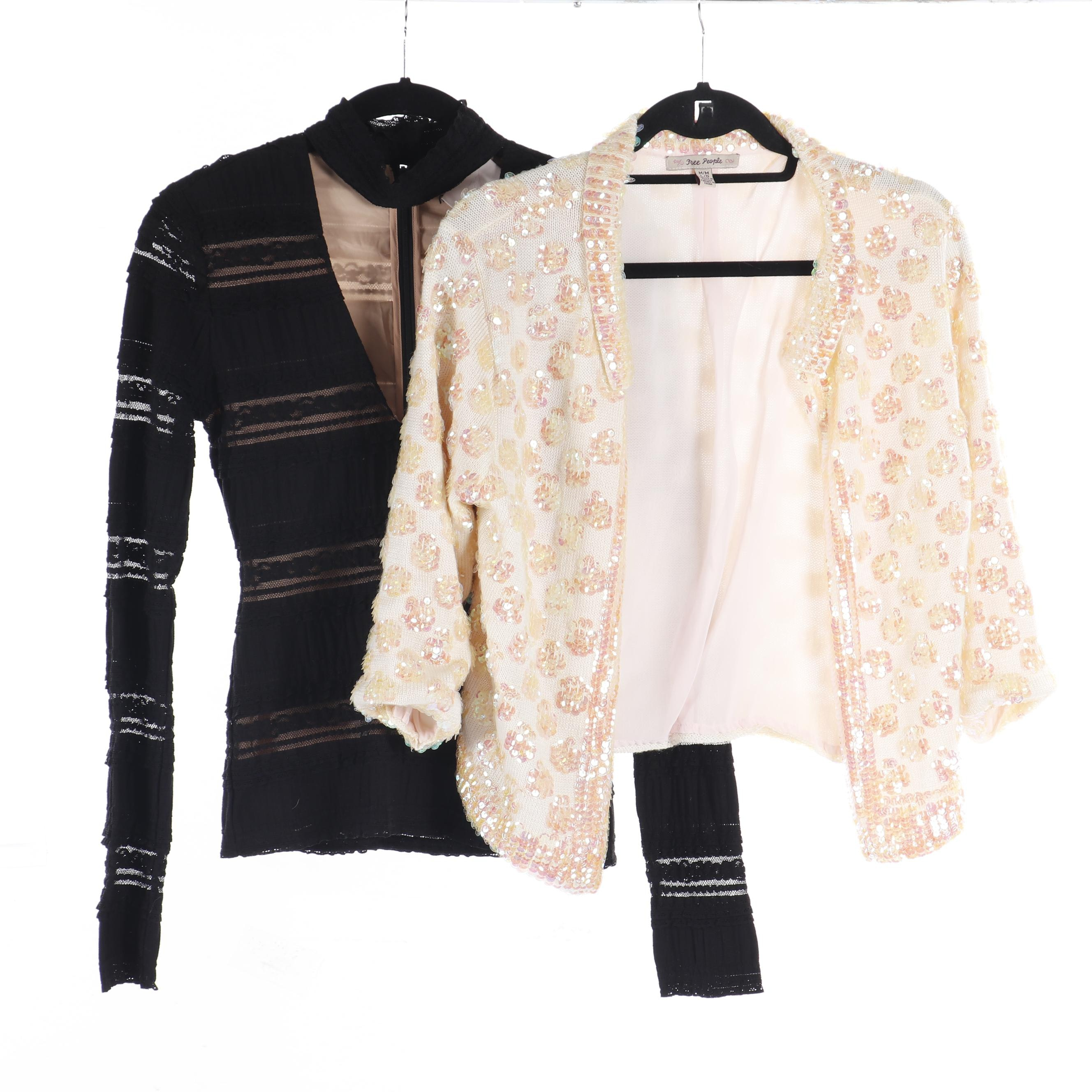 Cinq a Sept Blouse and Free People Sequin Sweater