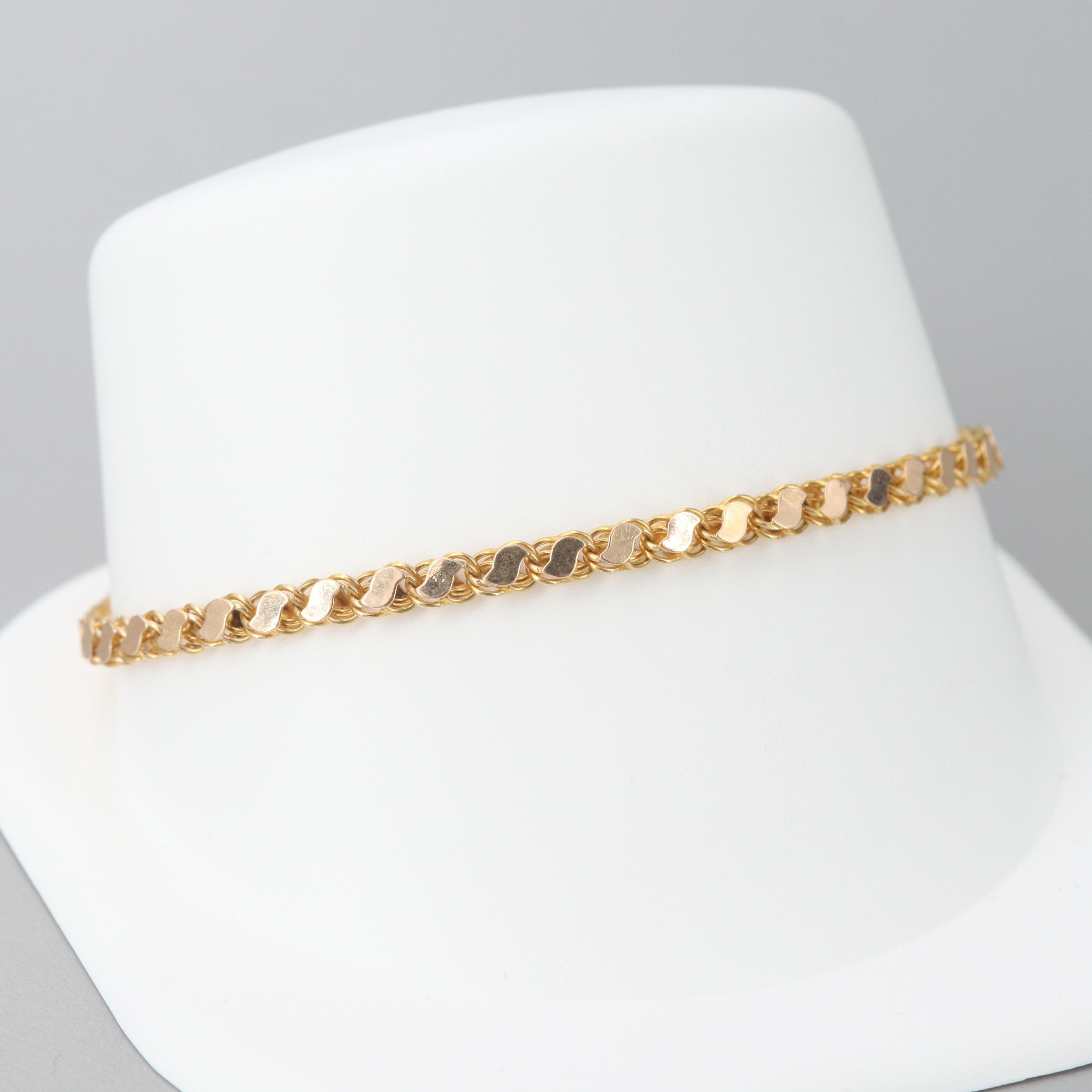 14K Yellow and Rose Gold Fancy Link Bracelet