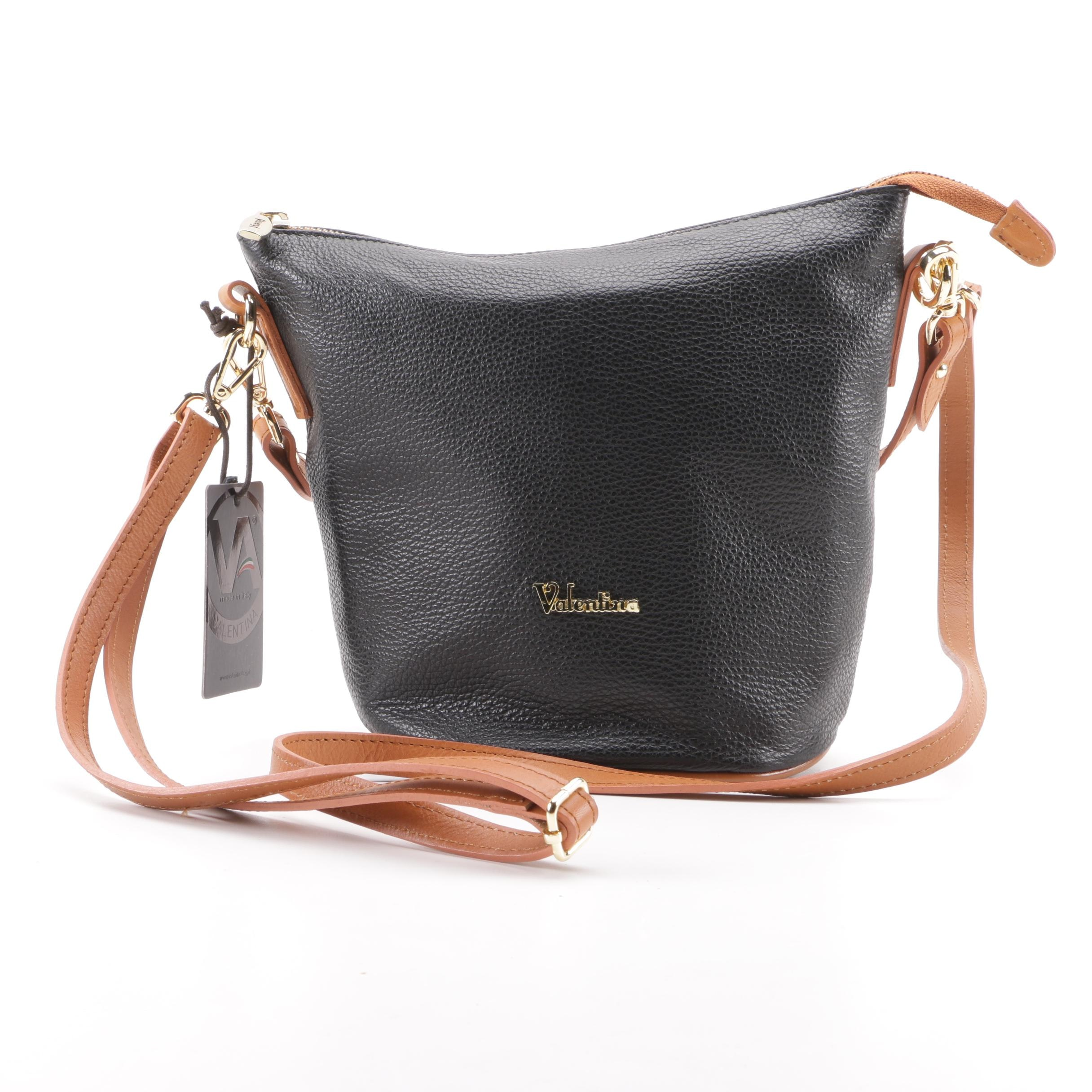 Valentina Black Pebbled and Tan Leather Shoulder Bag, Made in Italy
