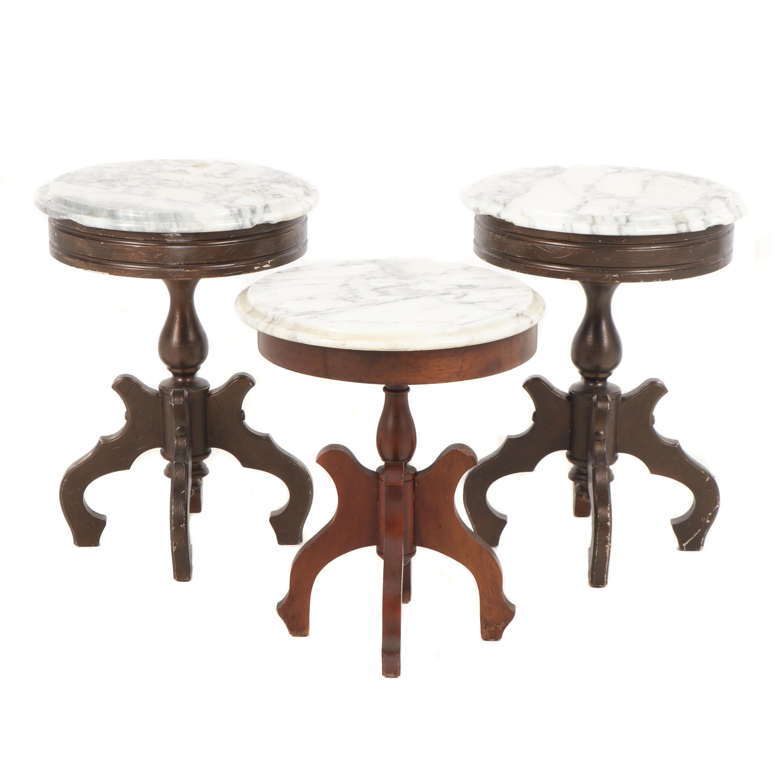 Victorian Style Wood and Marble Side Tables, Early 20th Century