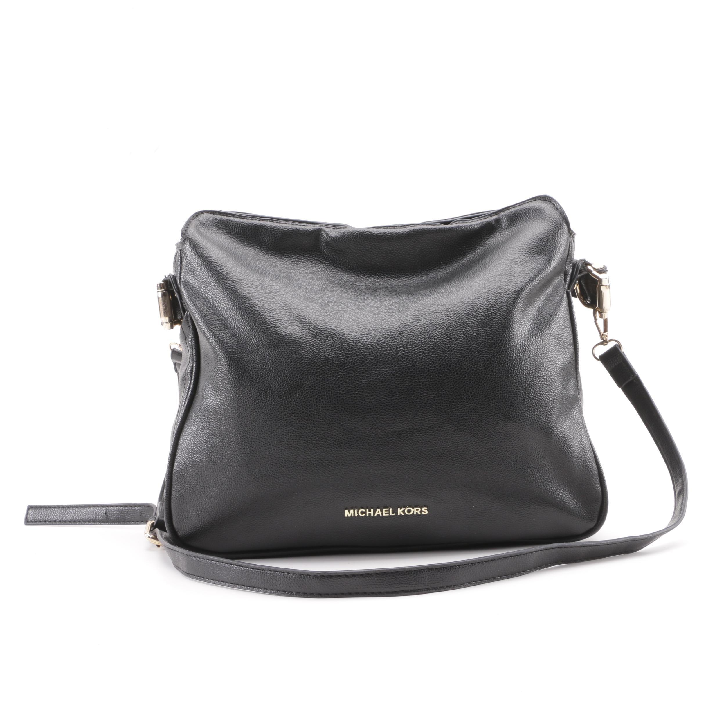 MK Michael Kors Black Leather Shoulder Bag