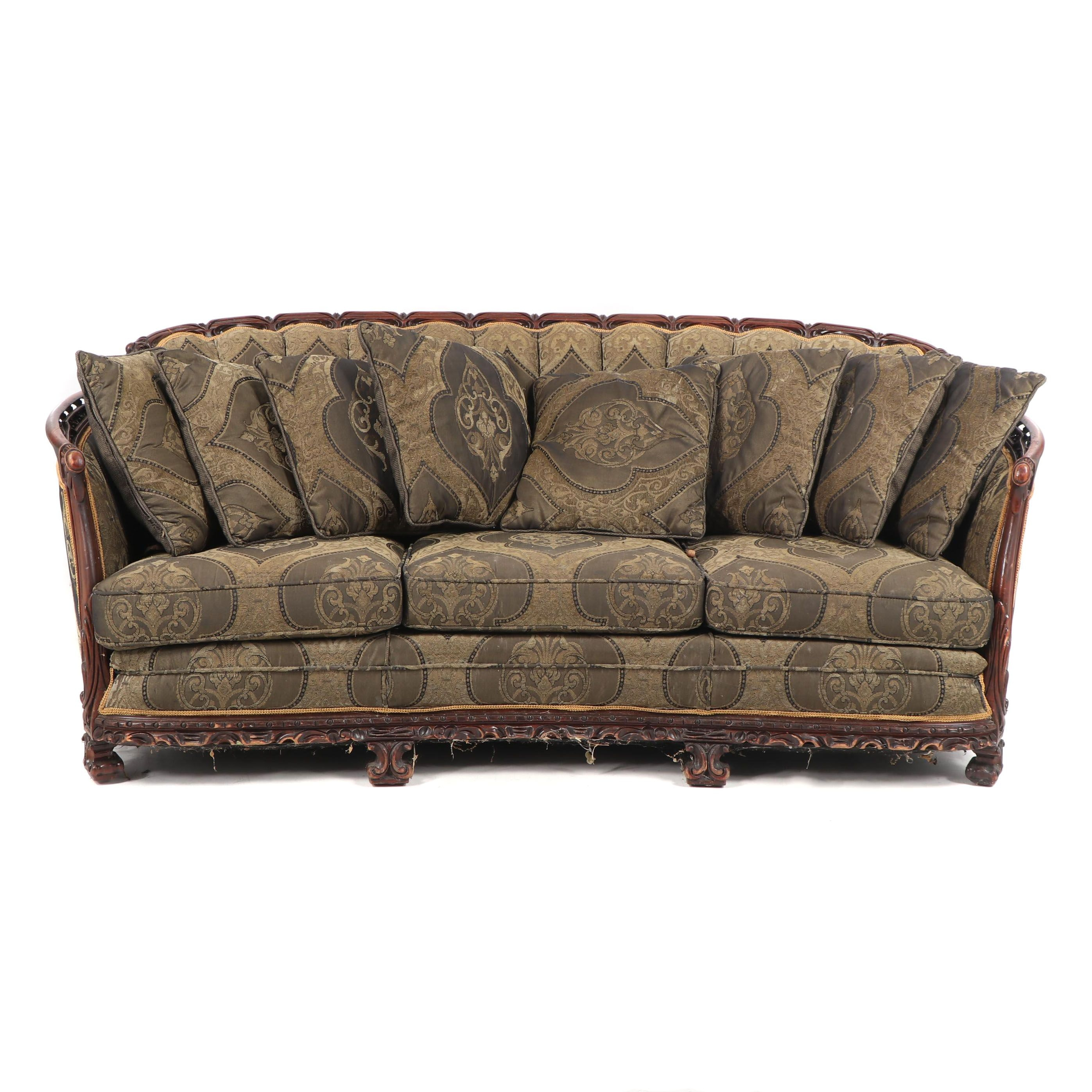 Victorian Style Carved Wood Frame Upholstered Sofa, Early 20th Century