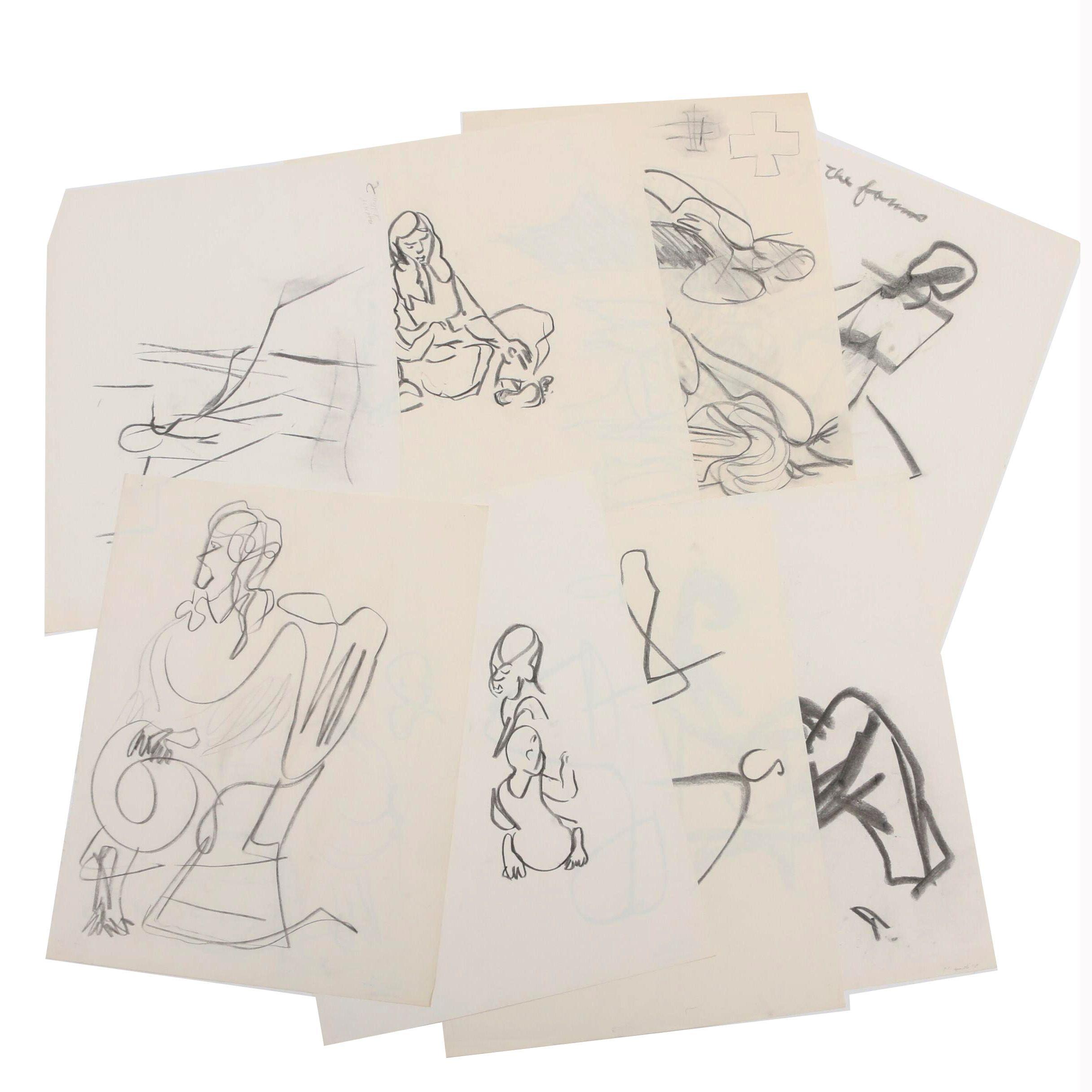 Paul Chidlaw Charcoal Figure Studies