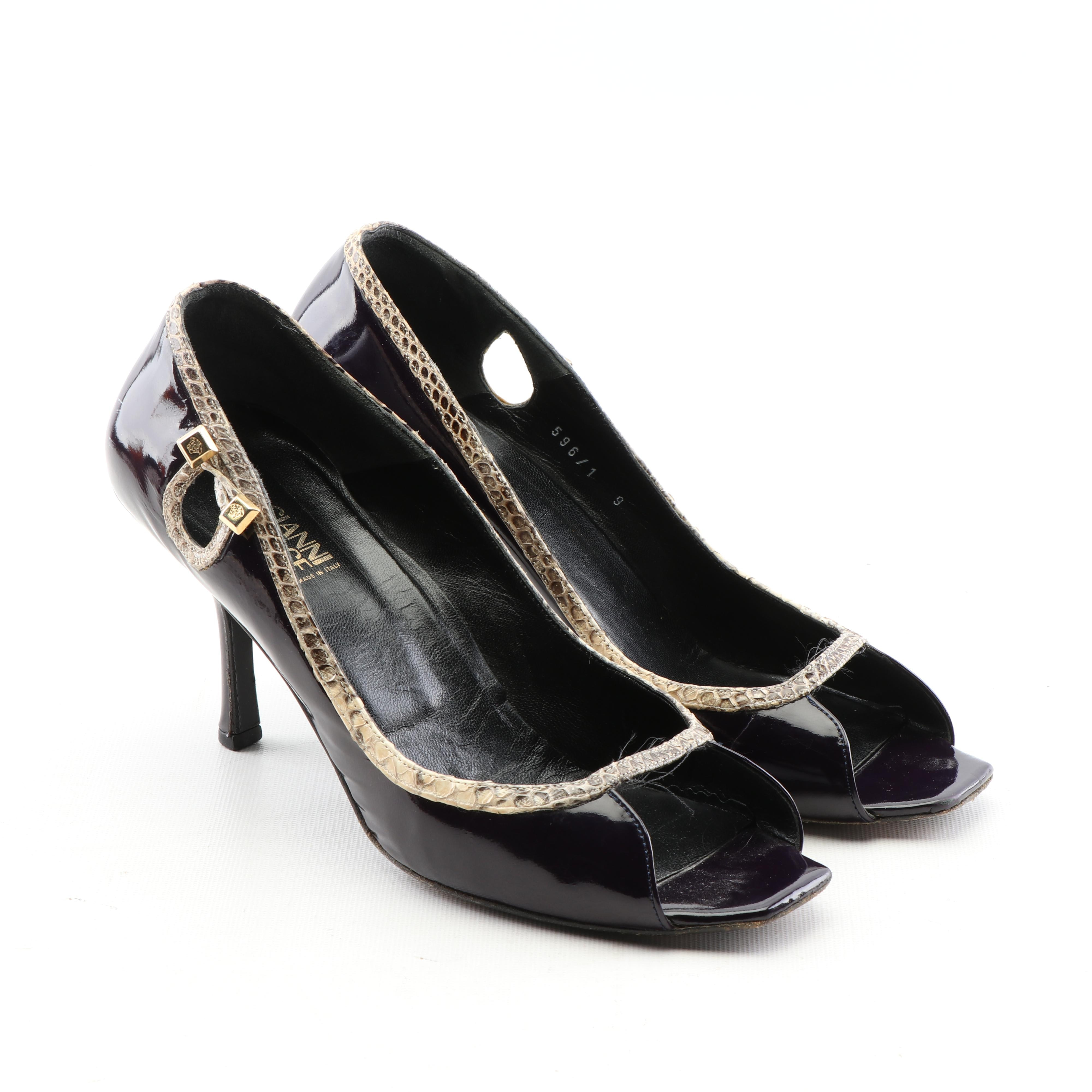 Gianni Versace Plum Patent Leather Open-Toe Pumps with Python Snakeskin Trim