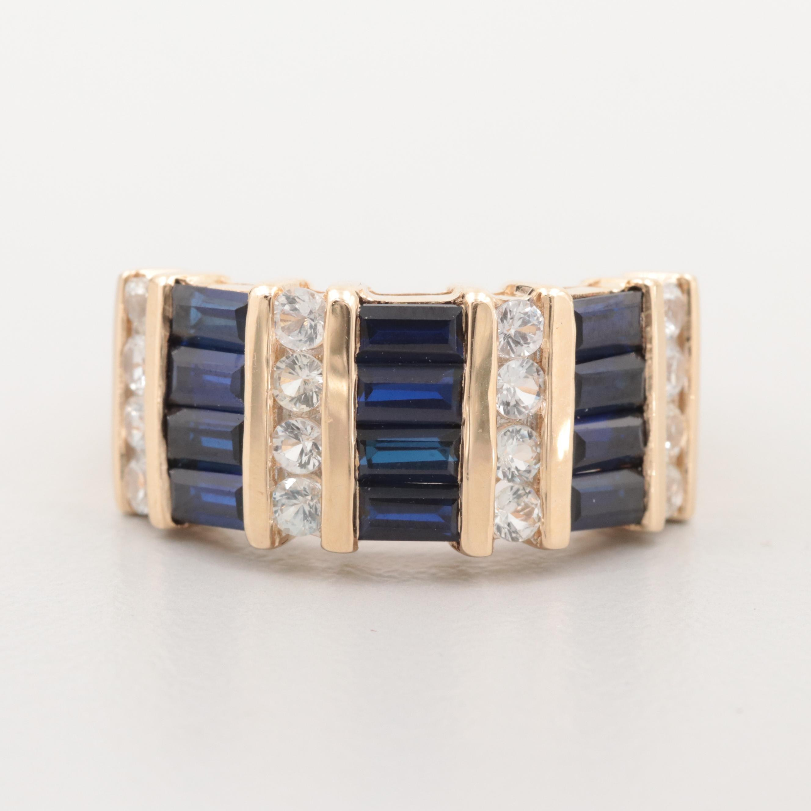 14K Yellow Gold Synthetic Blue Sapphire and White Sapphire Ring