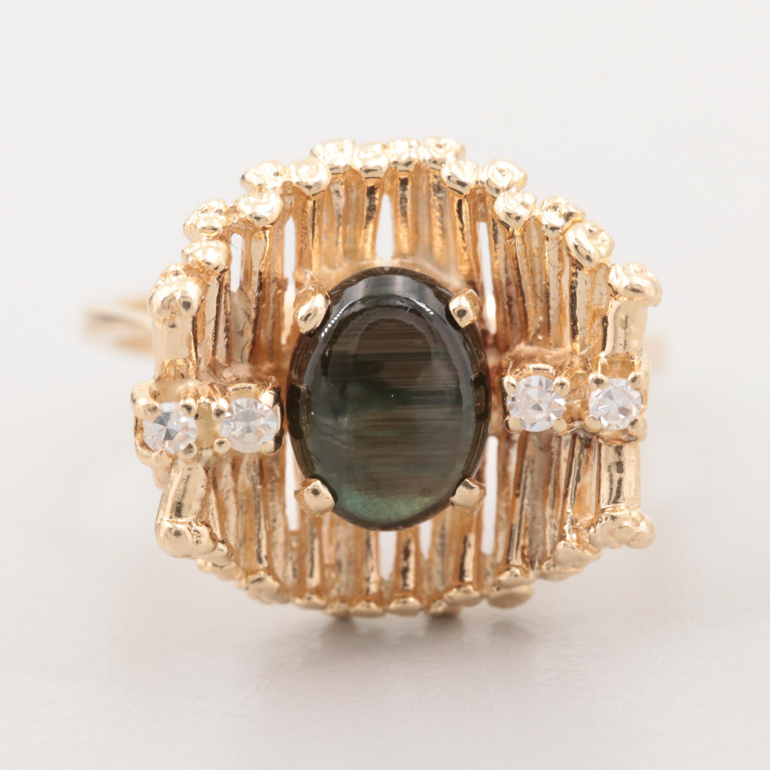 14K Yellow Gold Black Star Sapphire and Diamond Ring