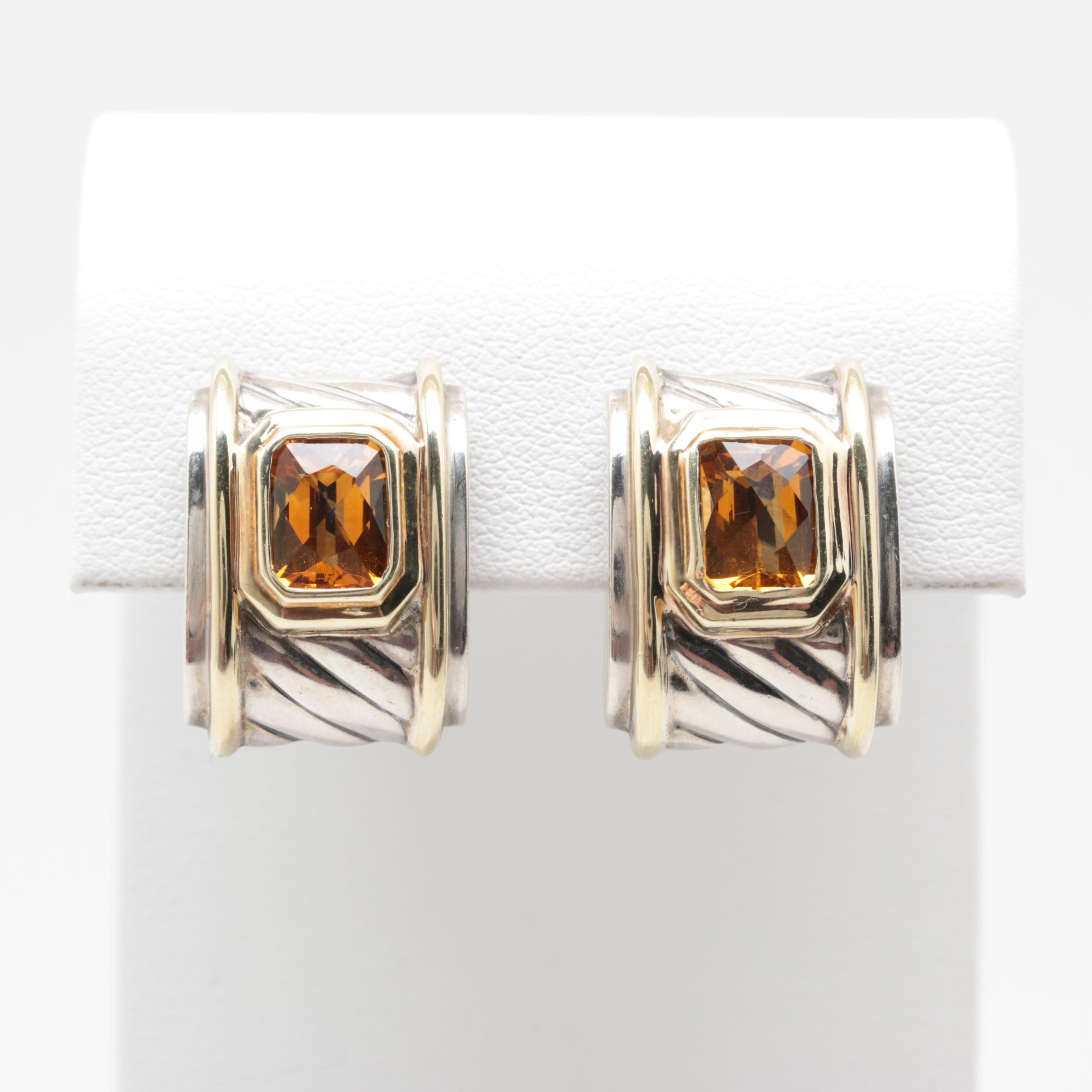 David Yurman Sterling Silver Citrine Earrings with 14K Yellow Gold Accents