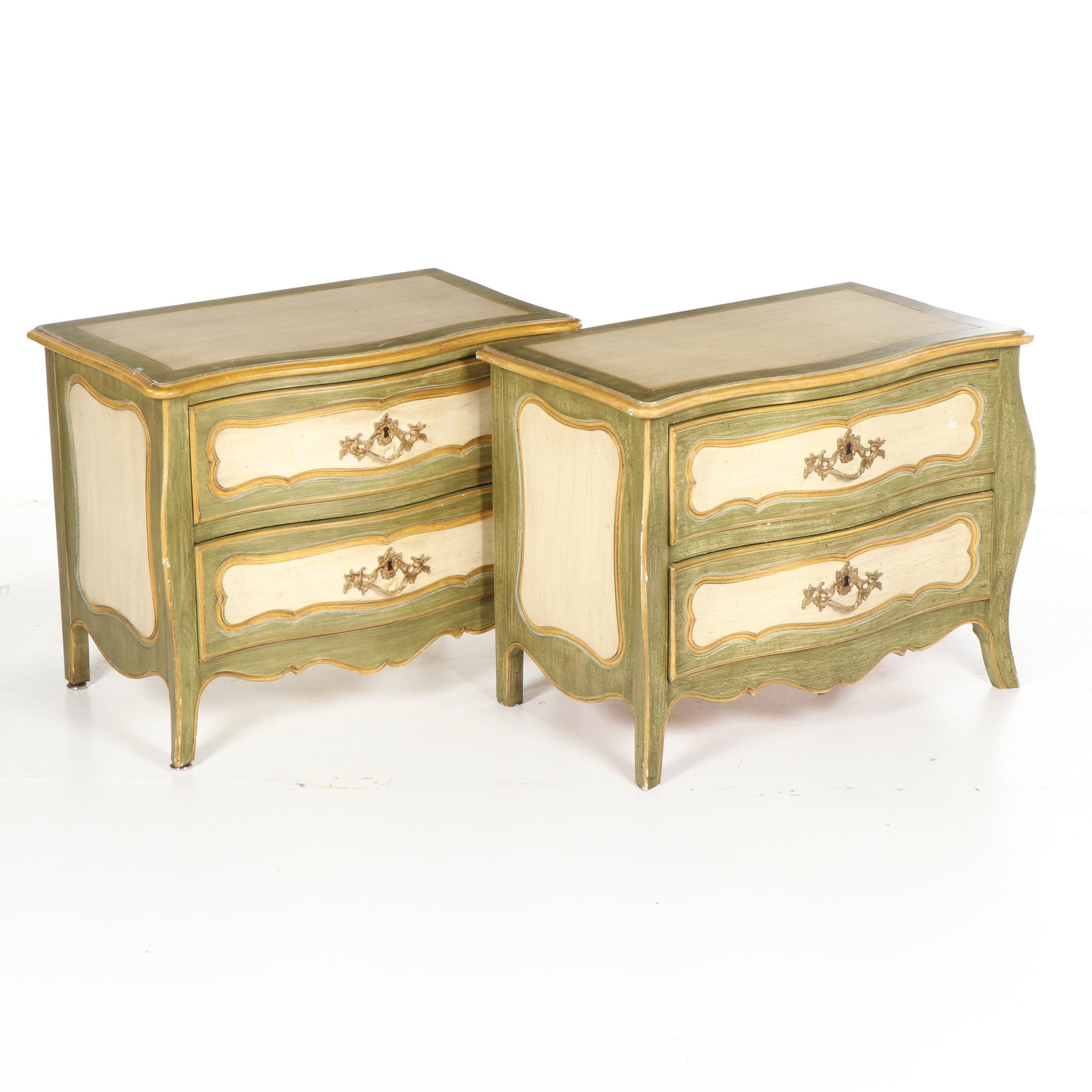 French Provincial Style Painted Wood Two-Drawer Nightstands, Late 20th Century