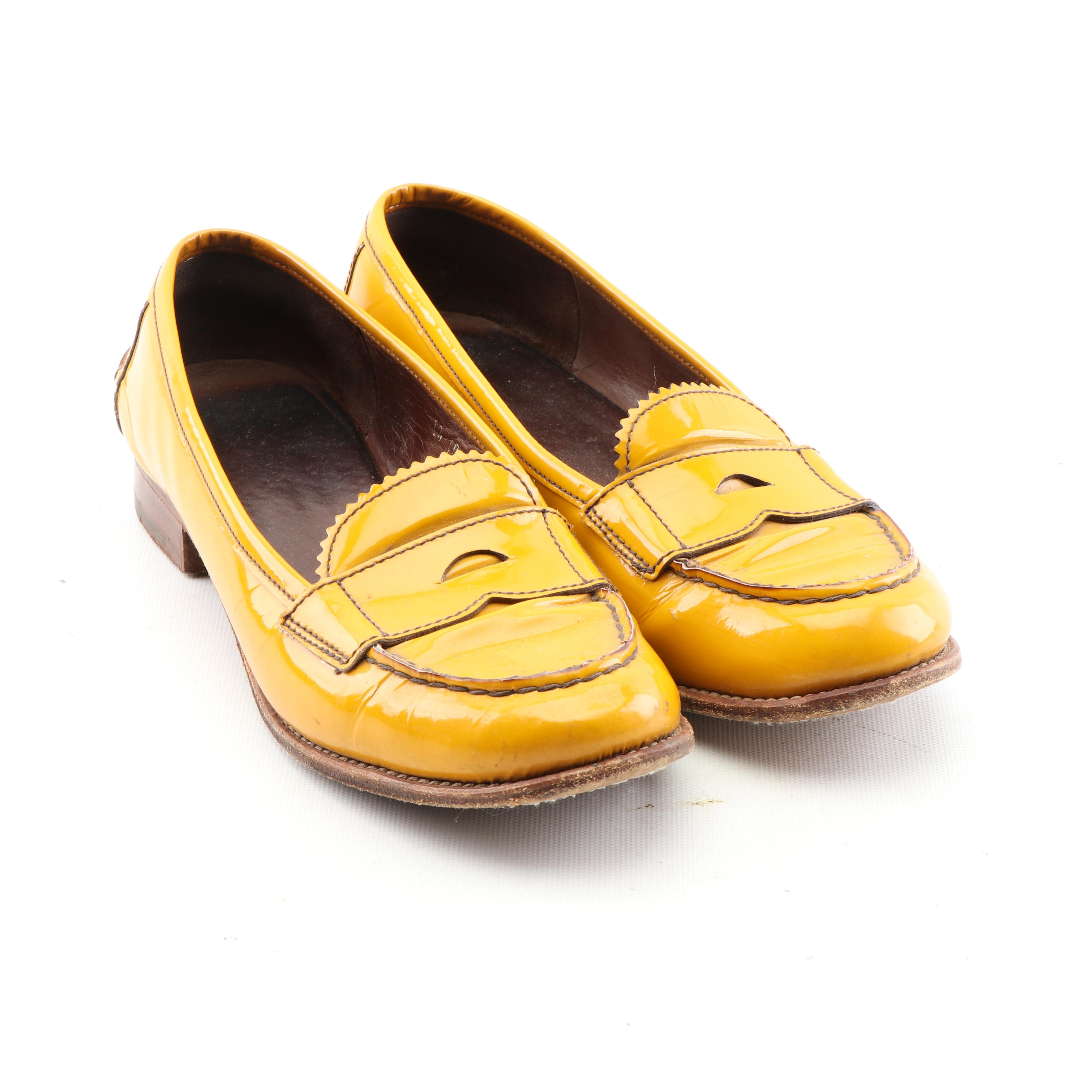 Women's Prada Mustard Yellow Patent Leather Loafers, Made in Italy