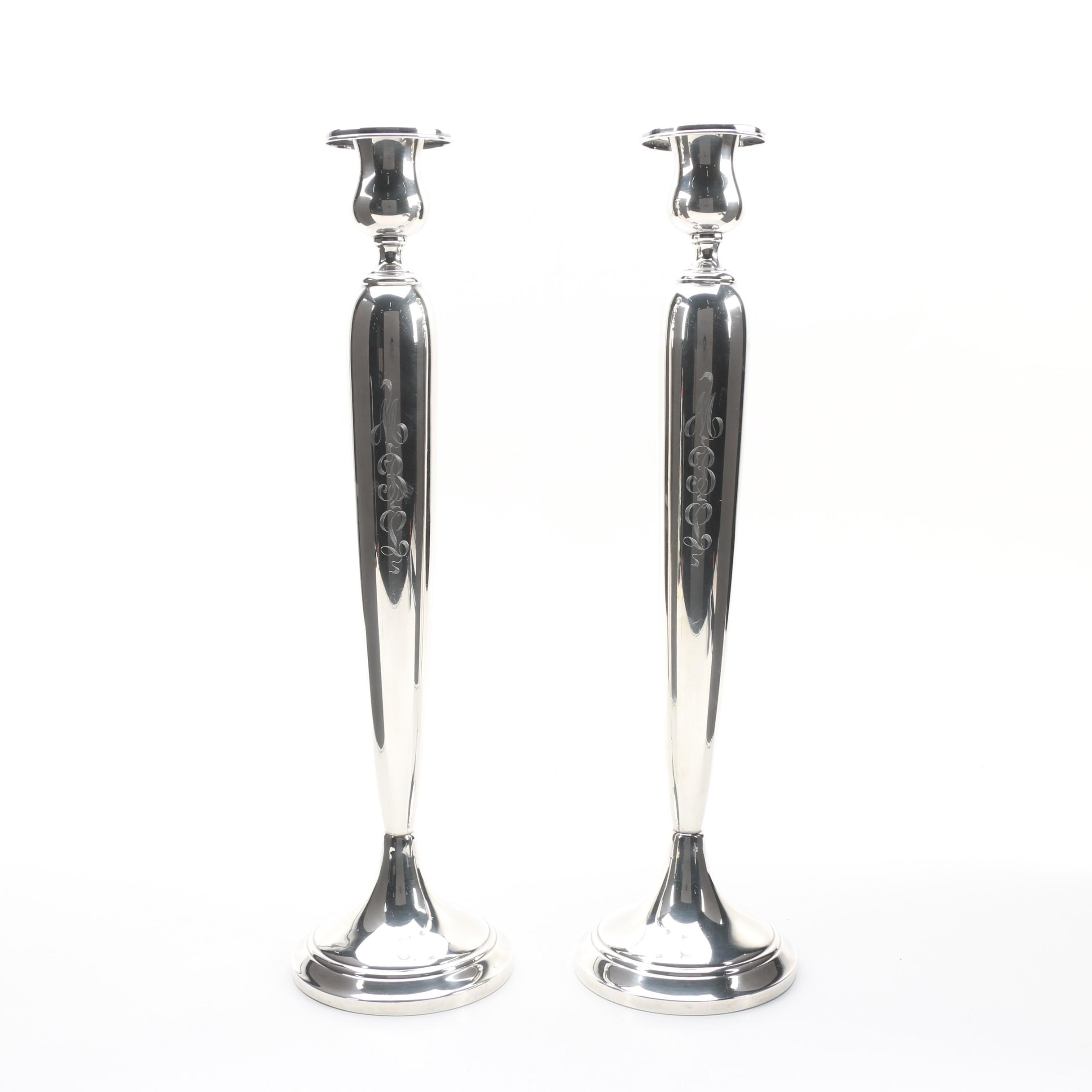 American Weighted Sterling Silver Large Candlestick Pair, Early 20th Century
