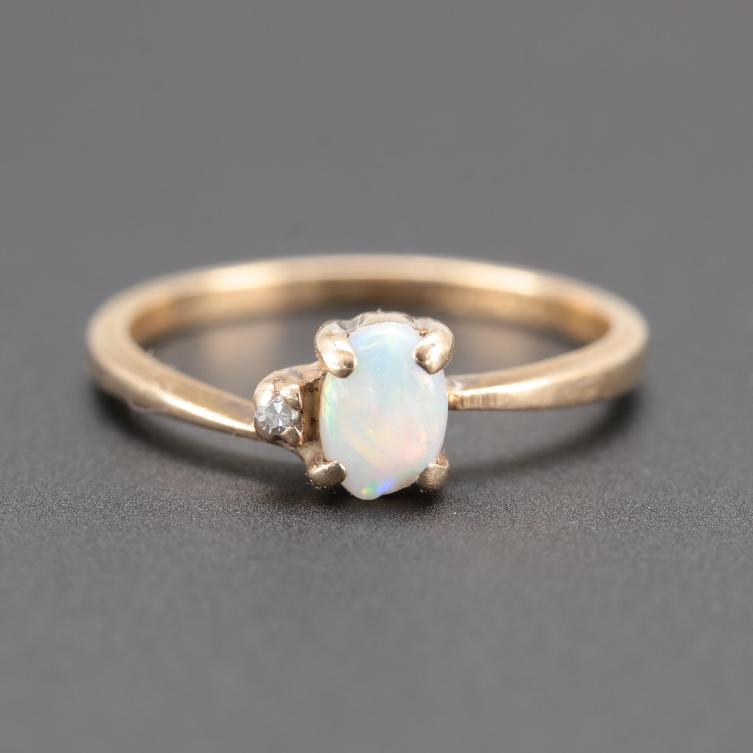 10K Yellow Gold Diamond & Opal Ring