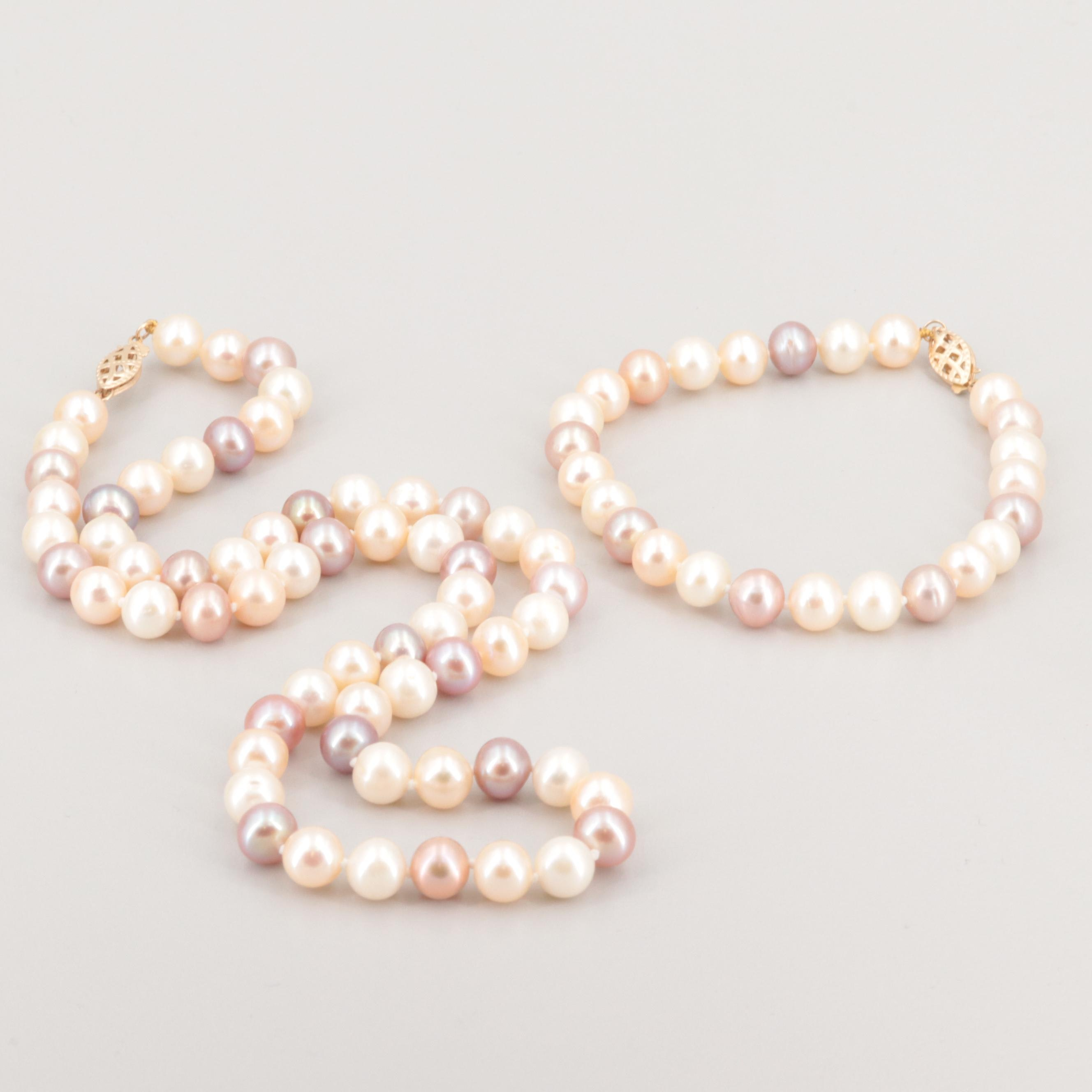 14K Yellow Gold Cultured Pearl Necklace and Bracelet Set