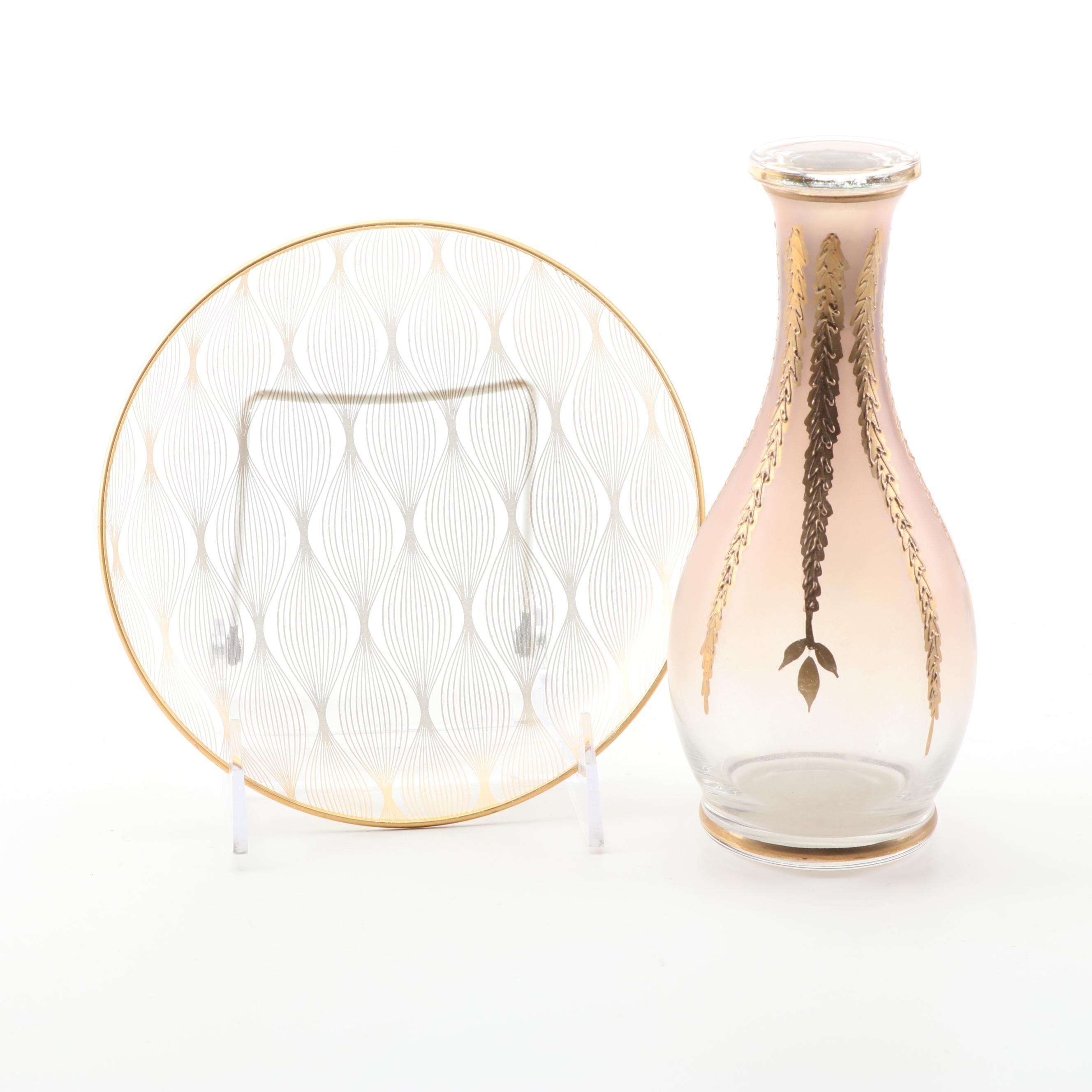 Decorative Glass Plate and Cruet