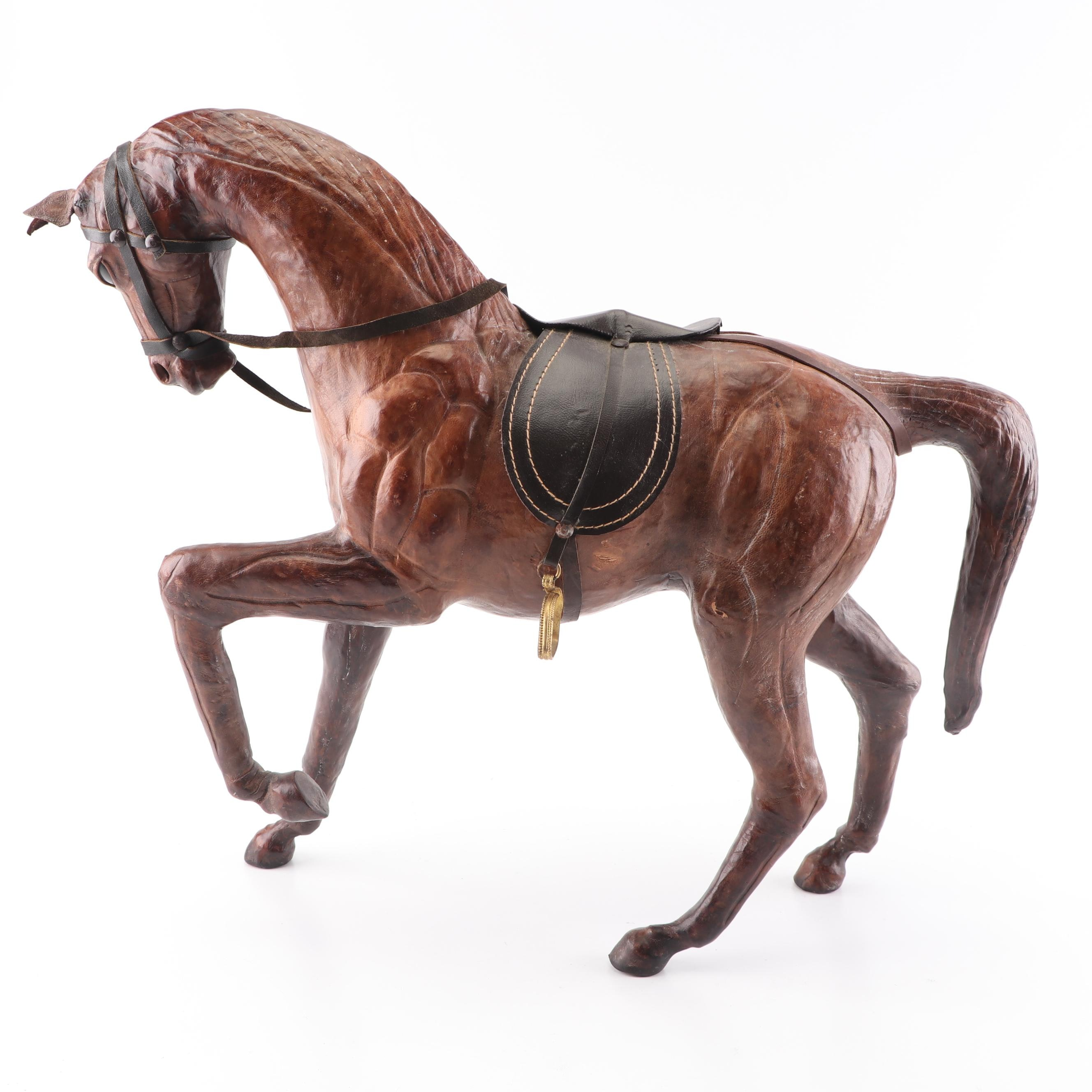 Pieced Leather Horse Sculpture