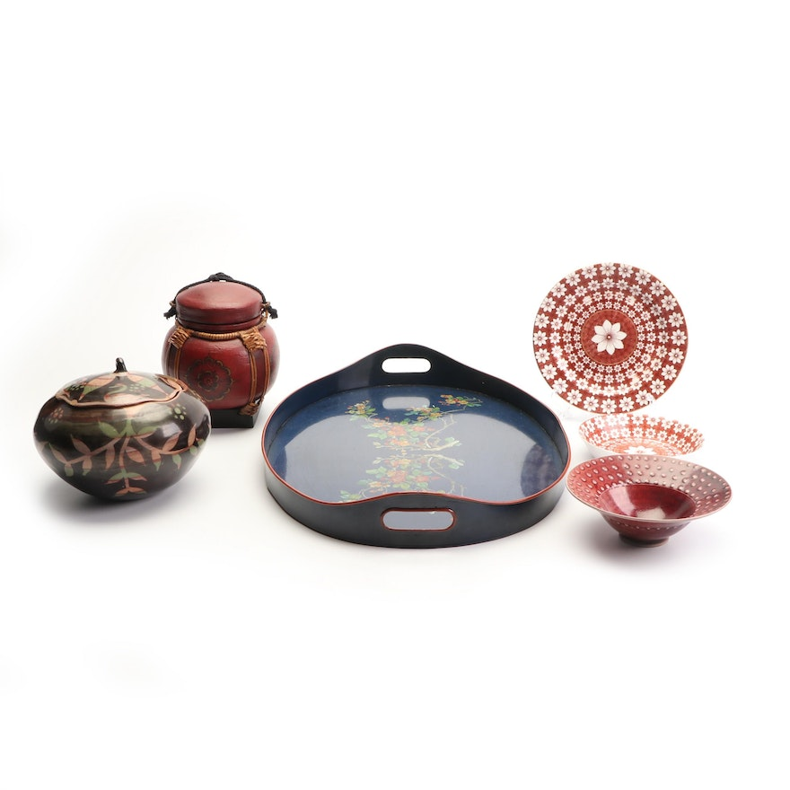 Lidded Vessels with Serveware including Signed Wheel Thrown Ceramic Bowl