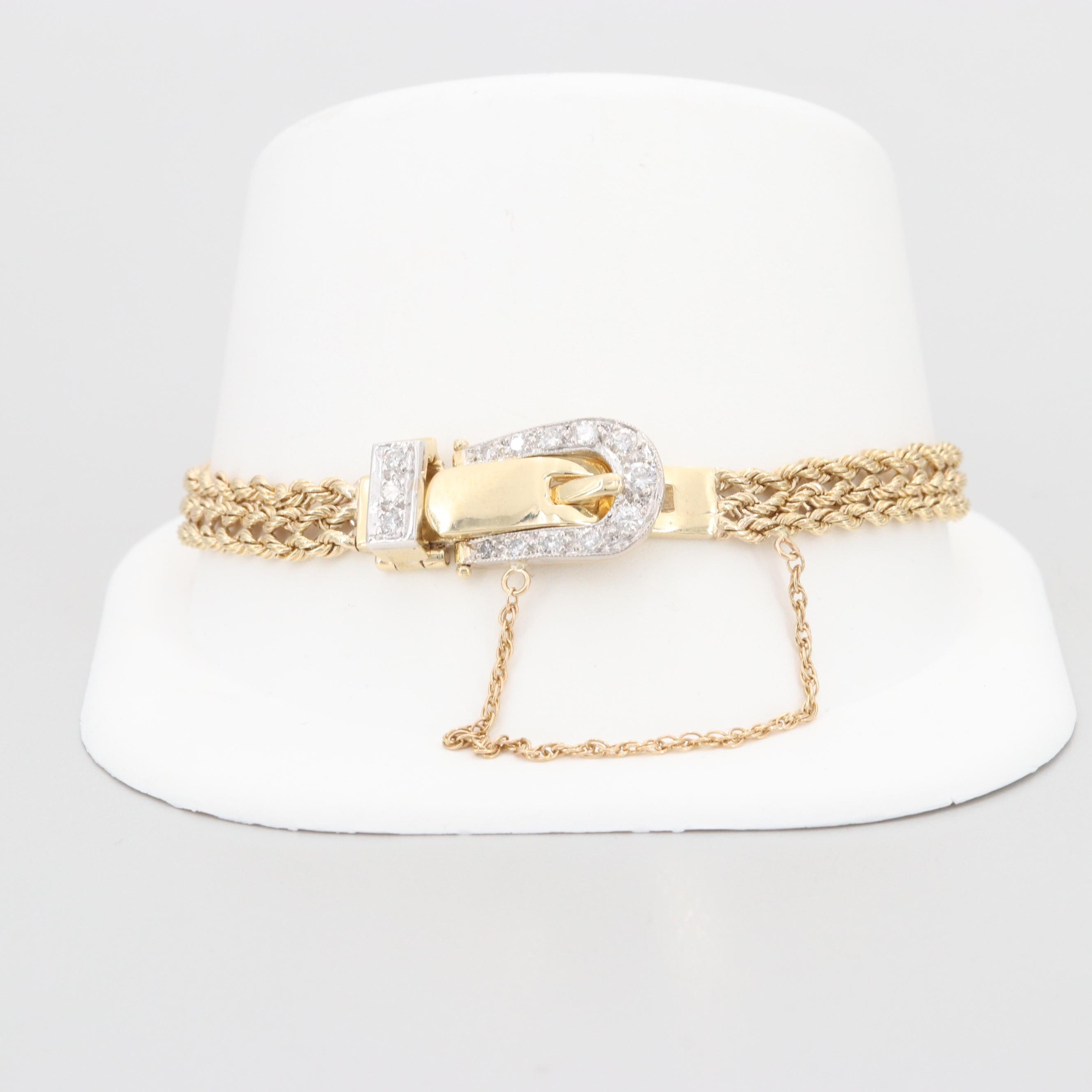 14K Yellow Gold Diamond Buckle Clasp Bracelet