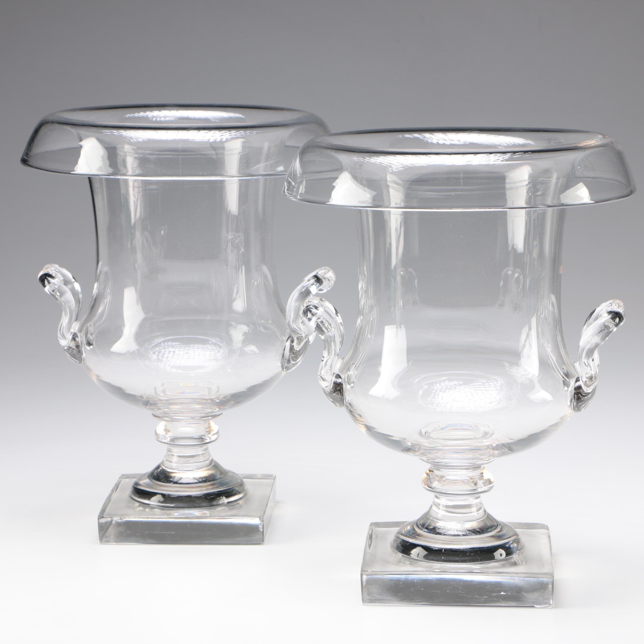 Pair of Art Glass Urn Form Vases